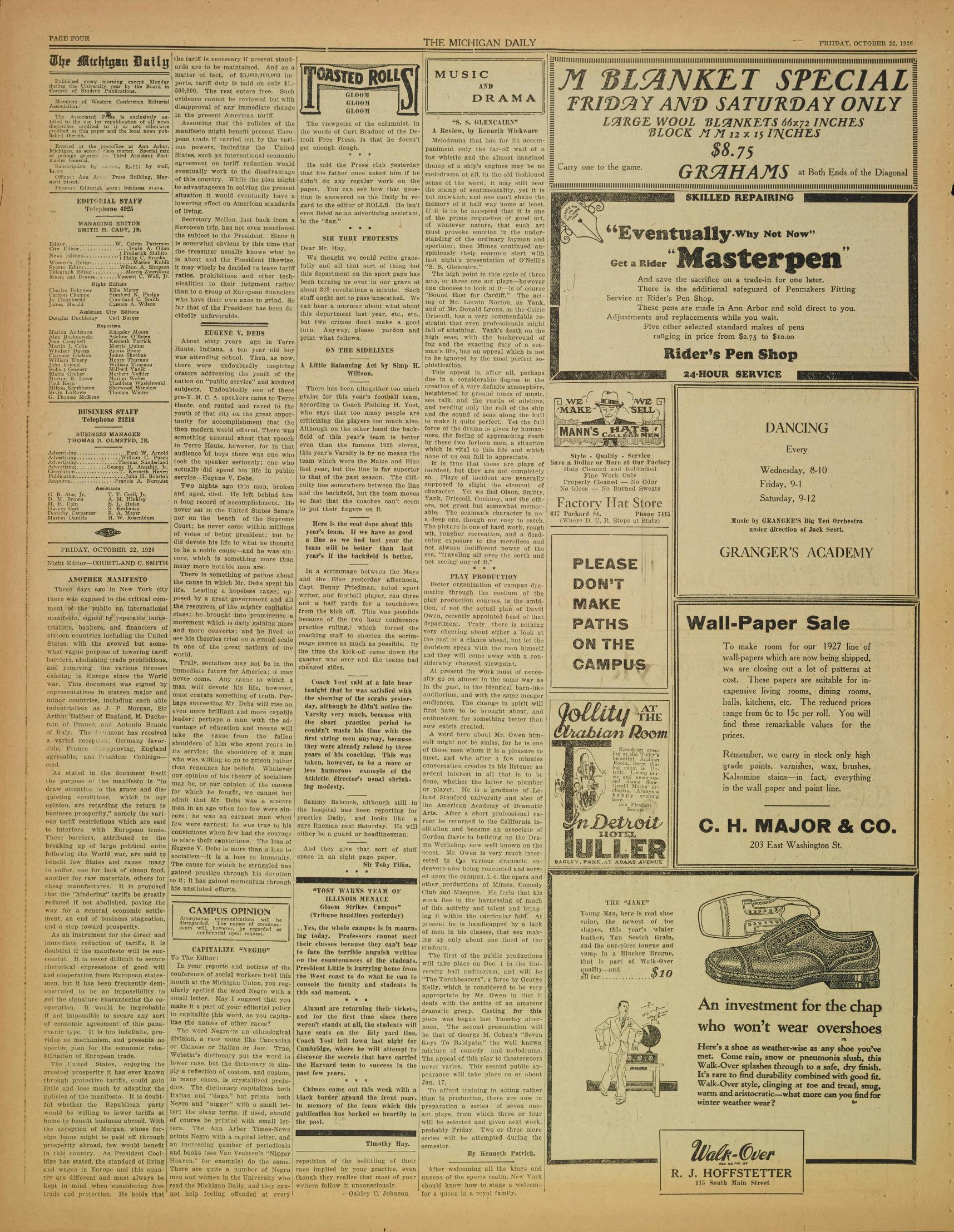 Michigan Daily Digital Archives October 22 1926 Vol 37 Iss 22