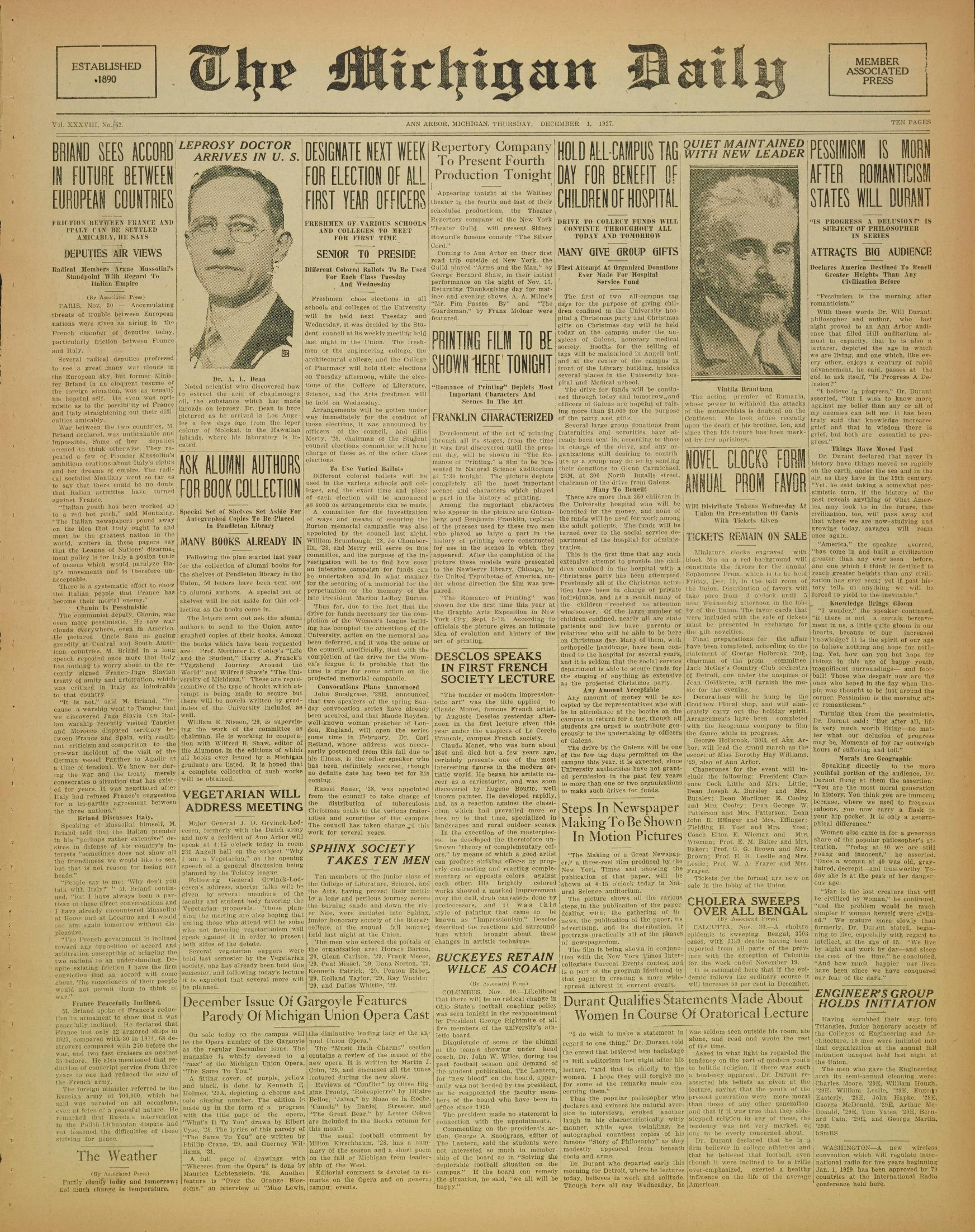 Michigan Daily Digital Archives December 01 1927 vol 38 iss