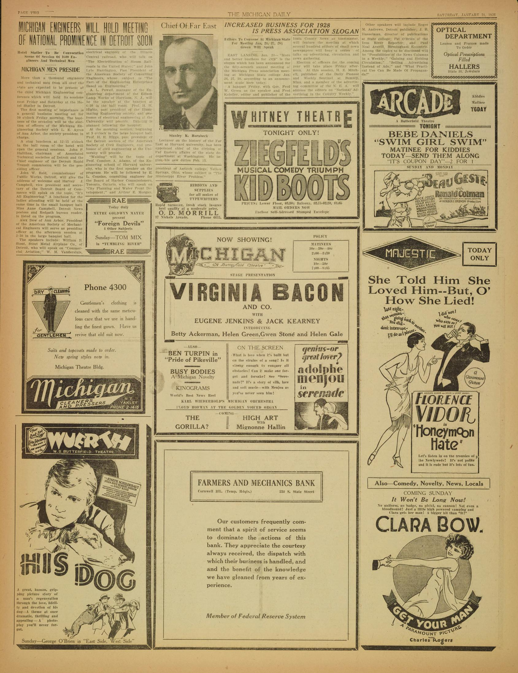 Michigan Daily Digital Archives - January 21, 1928 (vol  38
