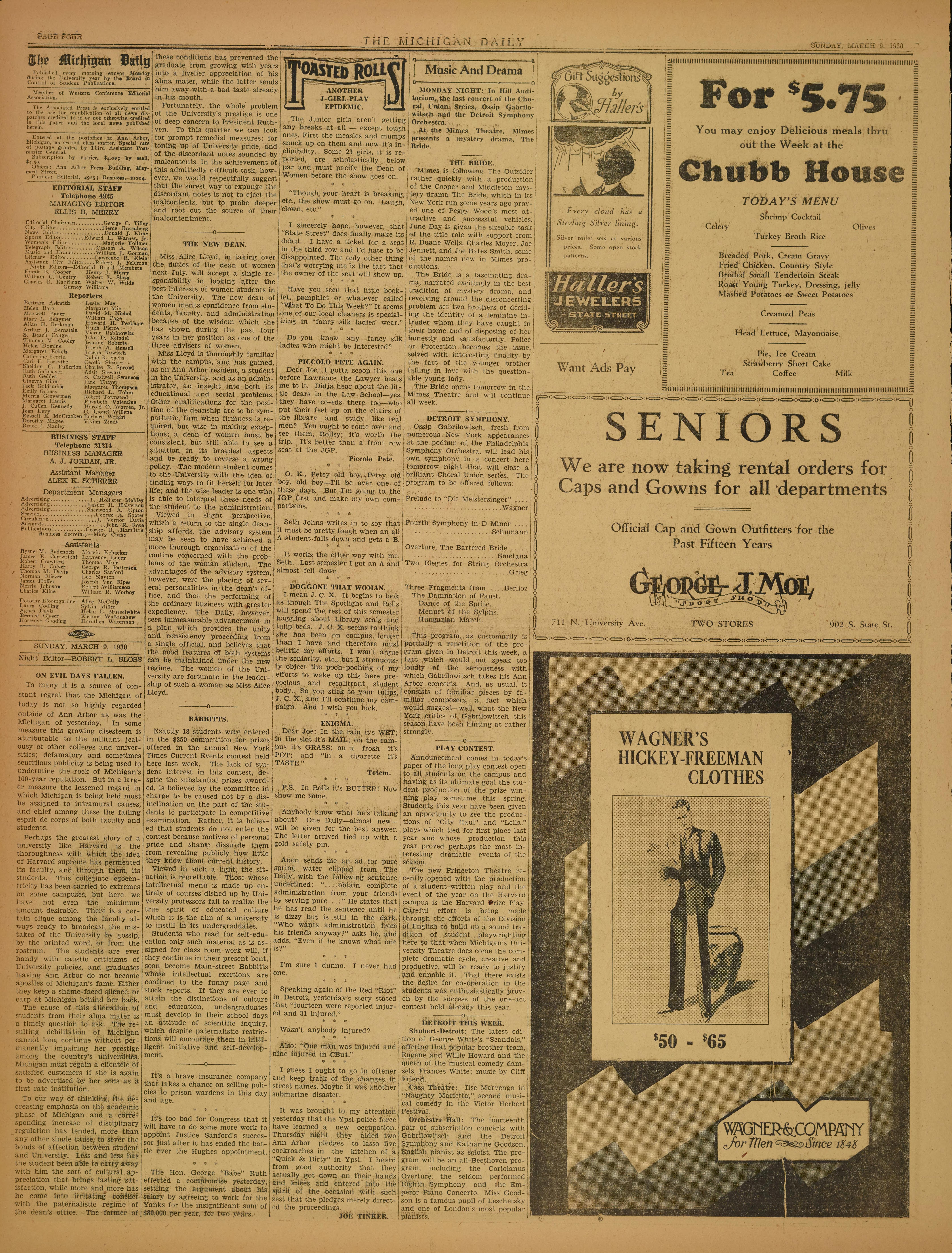 Michigan Daily Digital Archives - March 09, 1930 (vol  40