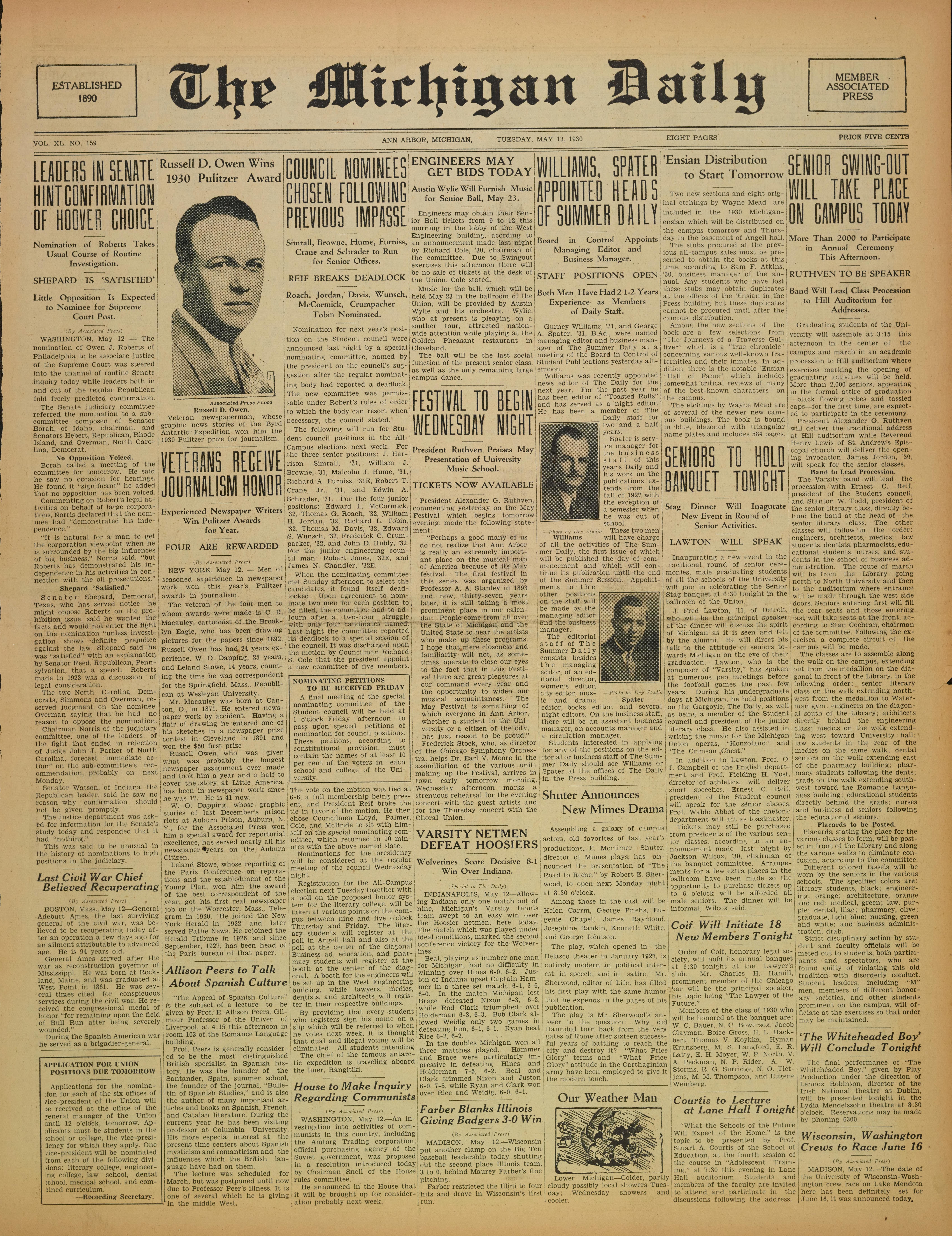 cb66b6905cda0c Michigan Daily Digital Archives - May 13, 1930 (vol. 40, iss. 159 ...