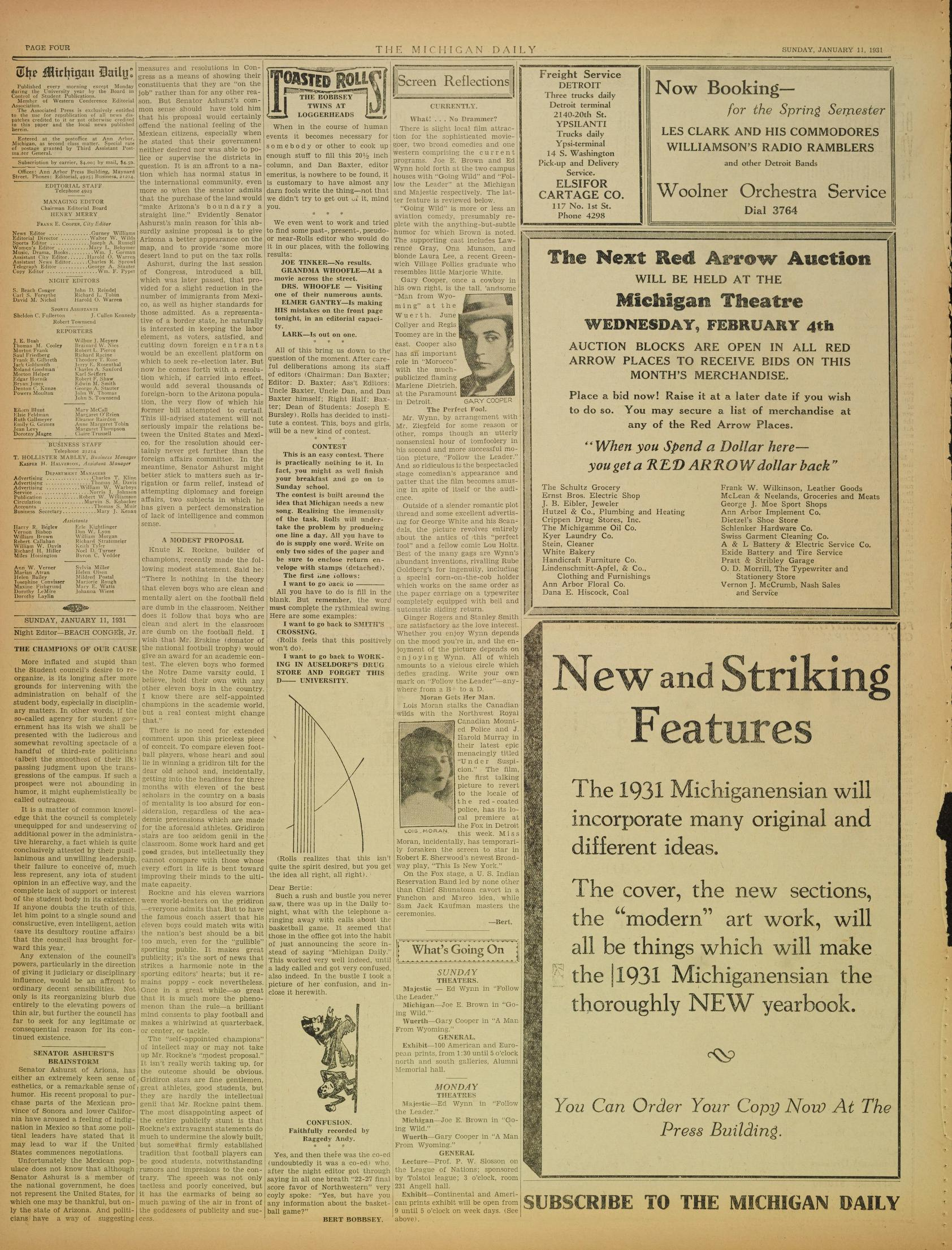 Michigan Daily Digital Archives January 11 1931 vol 41 iss 76
