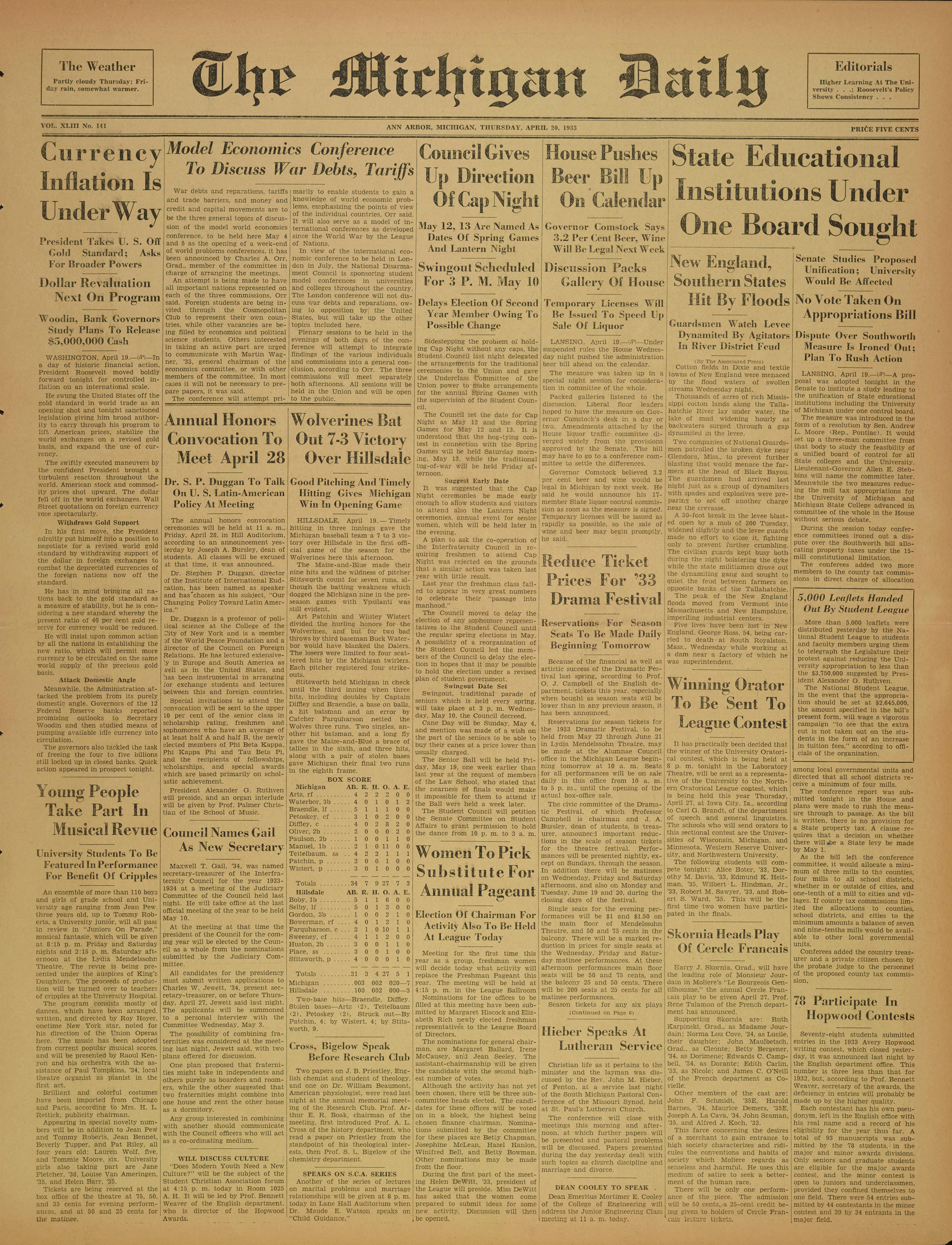 9da491213804 Michigan Daily Digital Archives - April 20