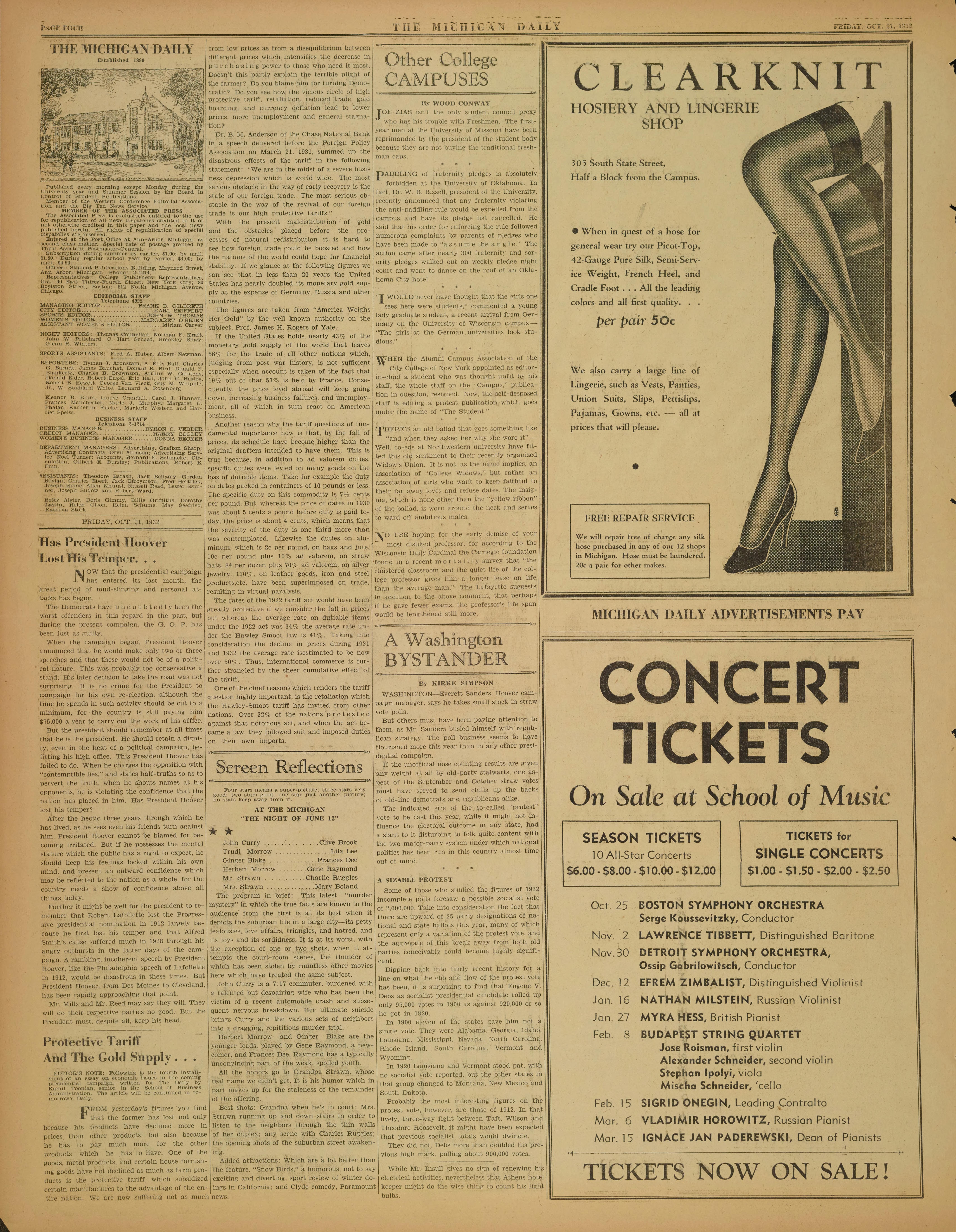 Michigan Daily Digital Archives - October 21, 1932 (vol  43