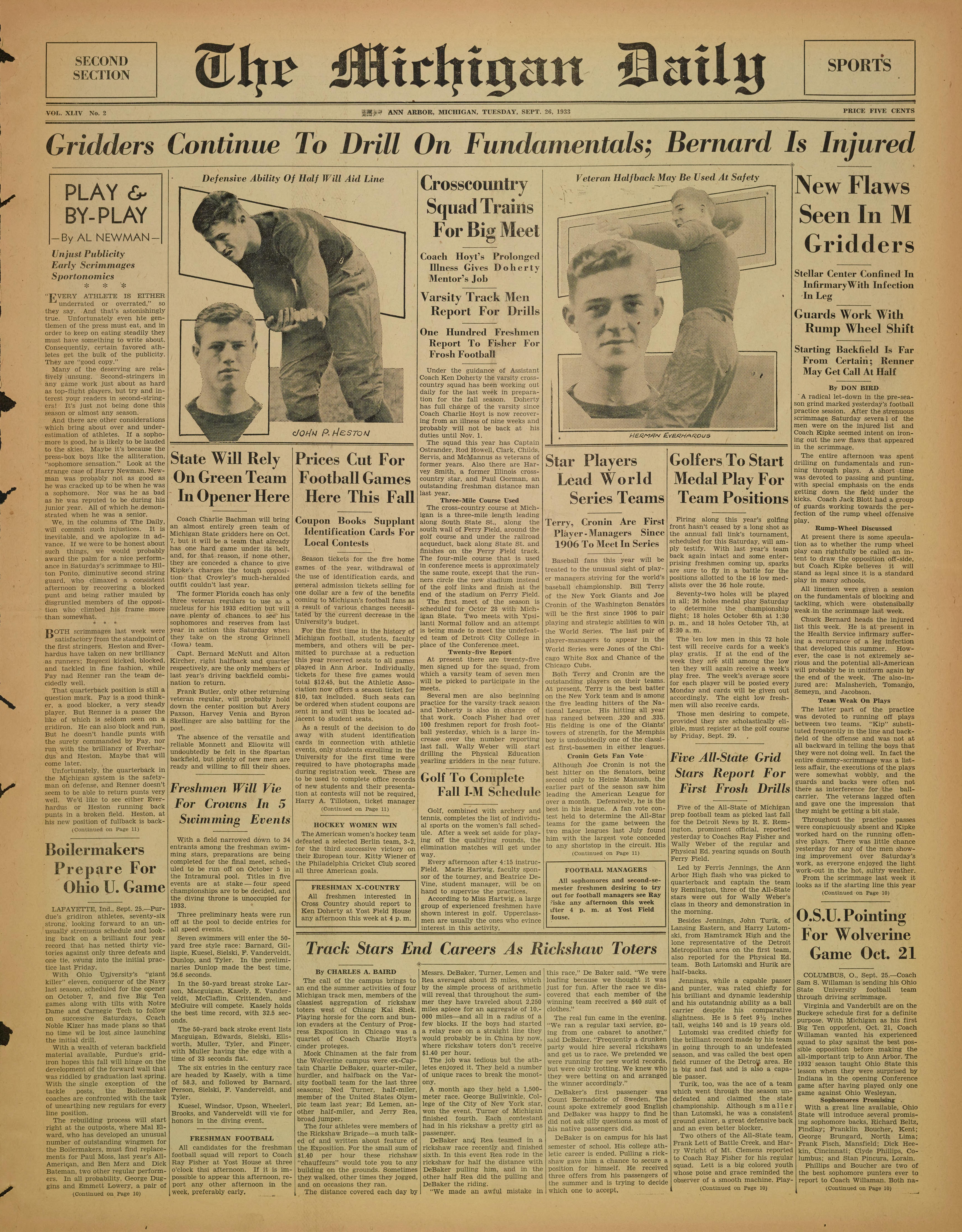 Michigan Daily Digital Archives September 26 1933 Vol