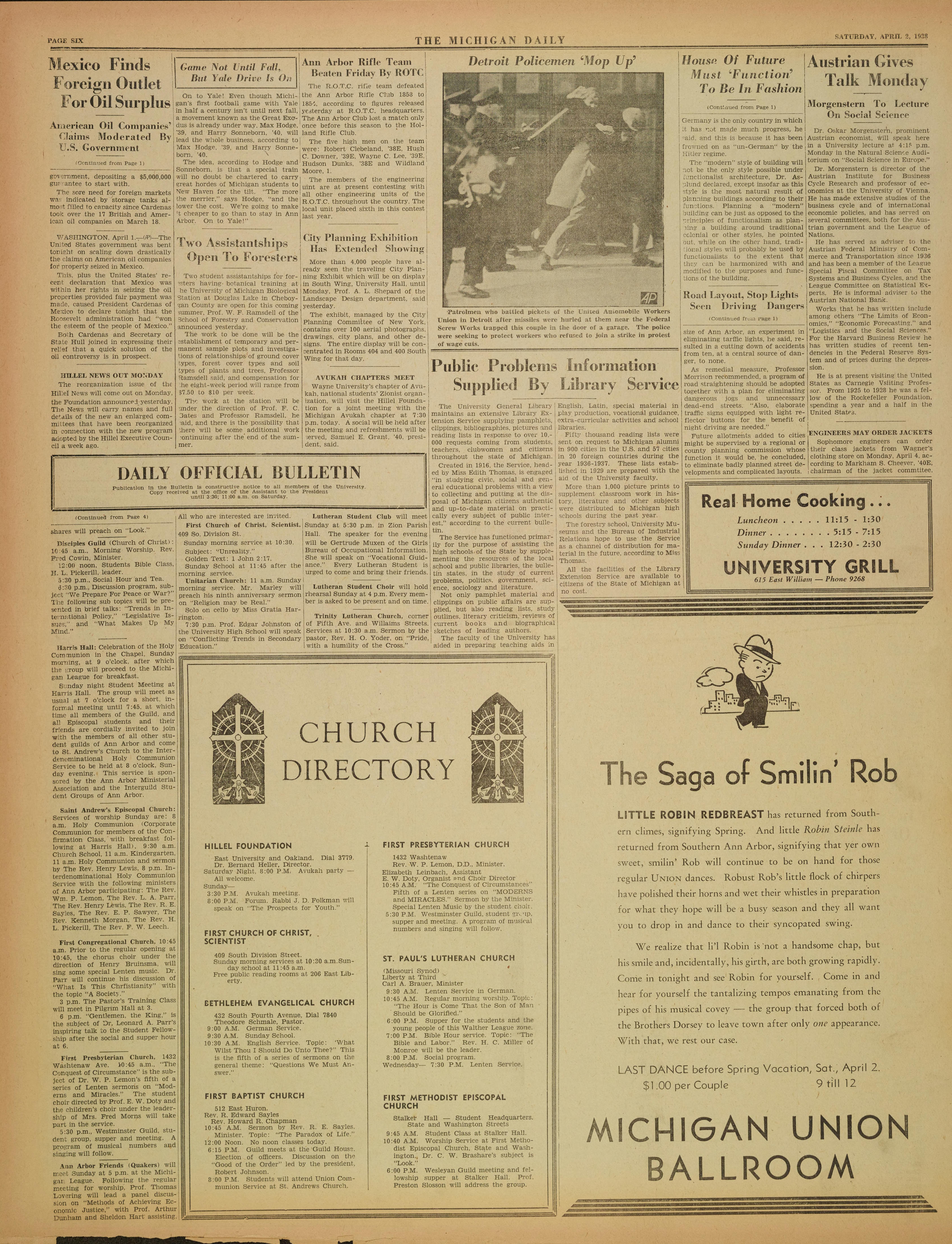 Michigan Daily Digital Archives - April 02, 1938 (vol  48, iss  134