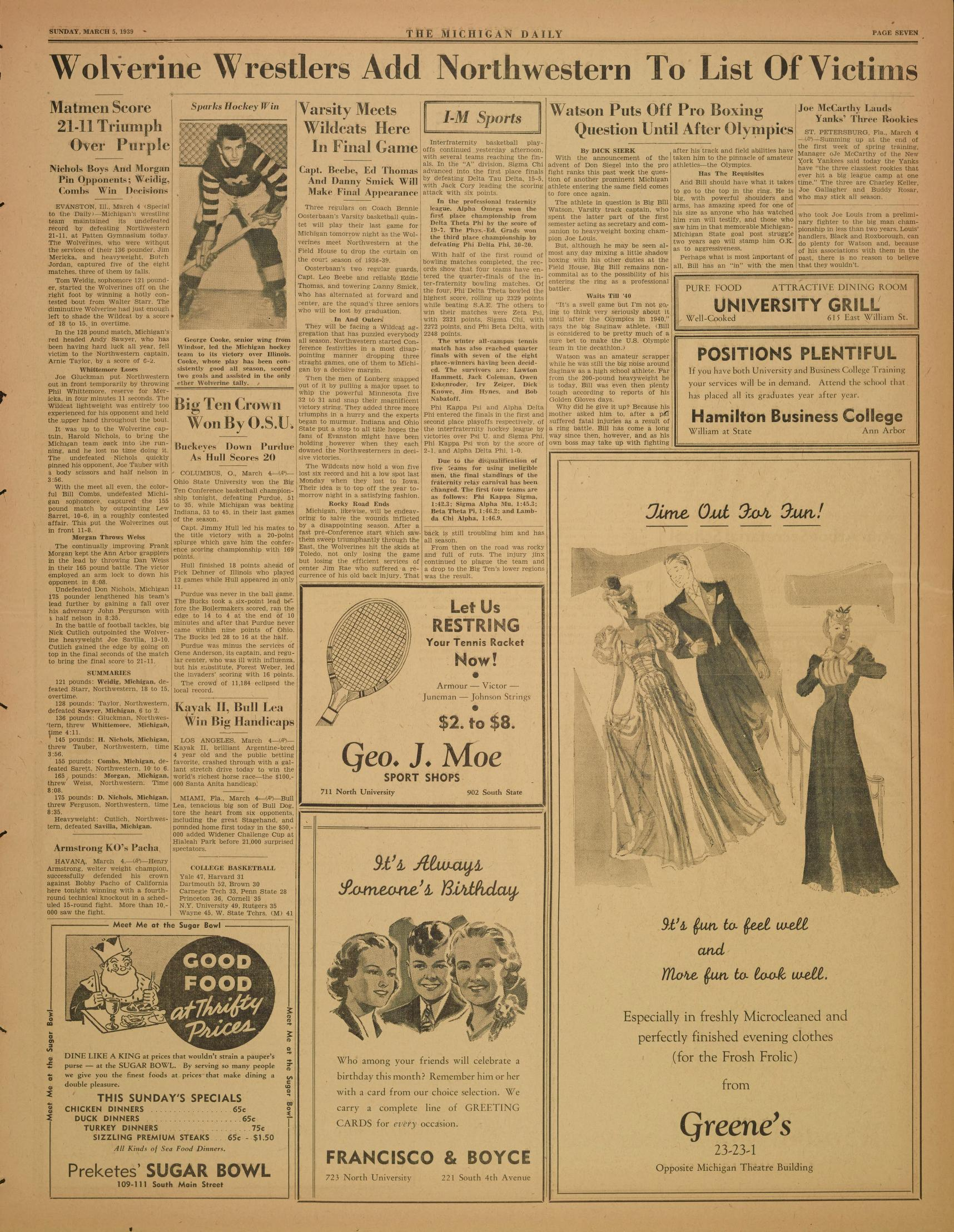 Michigan Daily Digital Archives March 05 1939 vol 49 iss 110