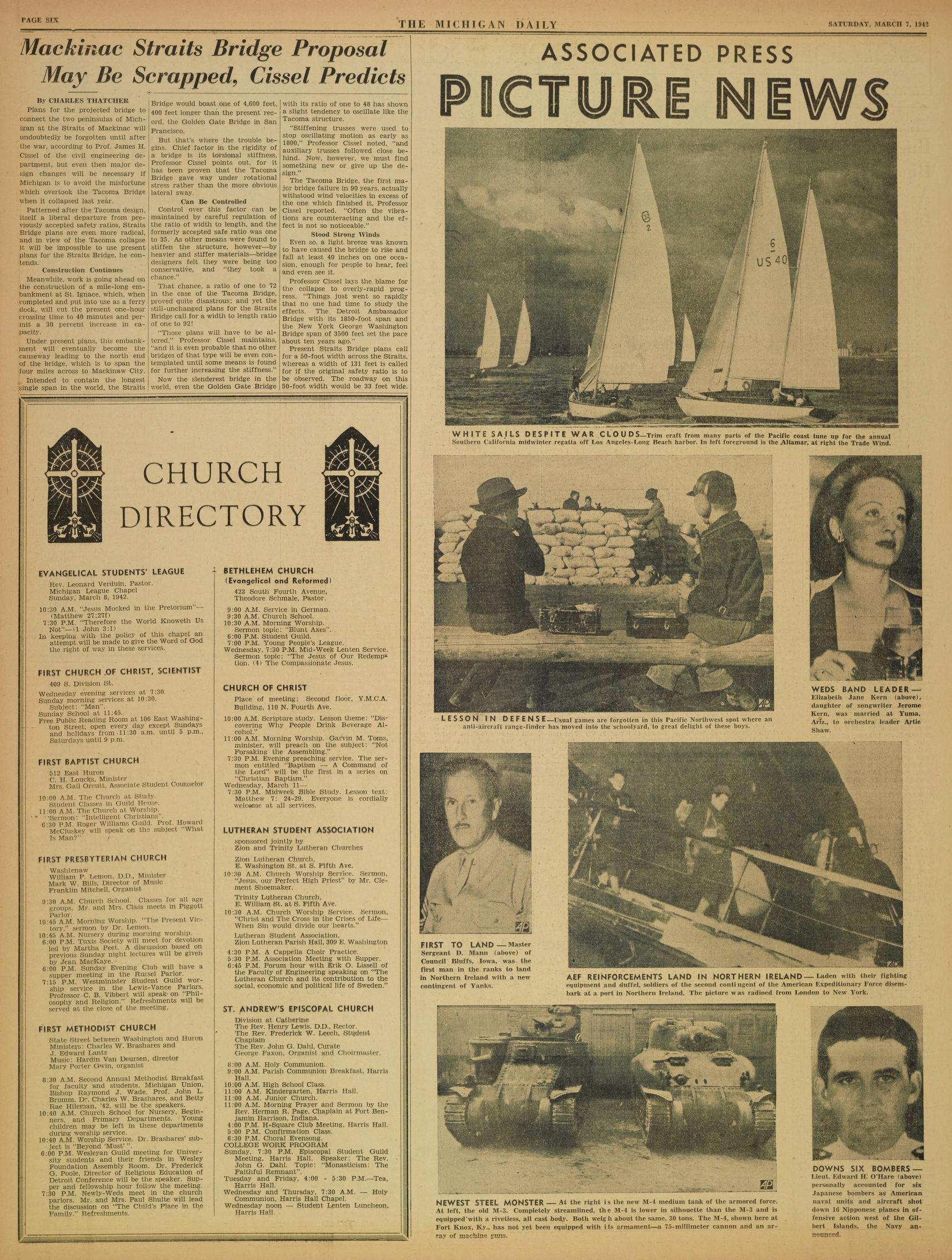 Michigan Daily Digital Archives - March 07, 1942 (vol  52