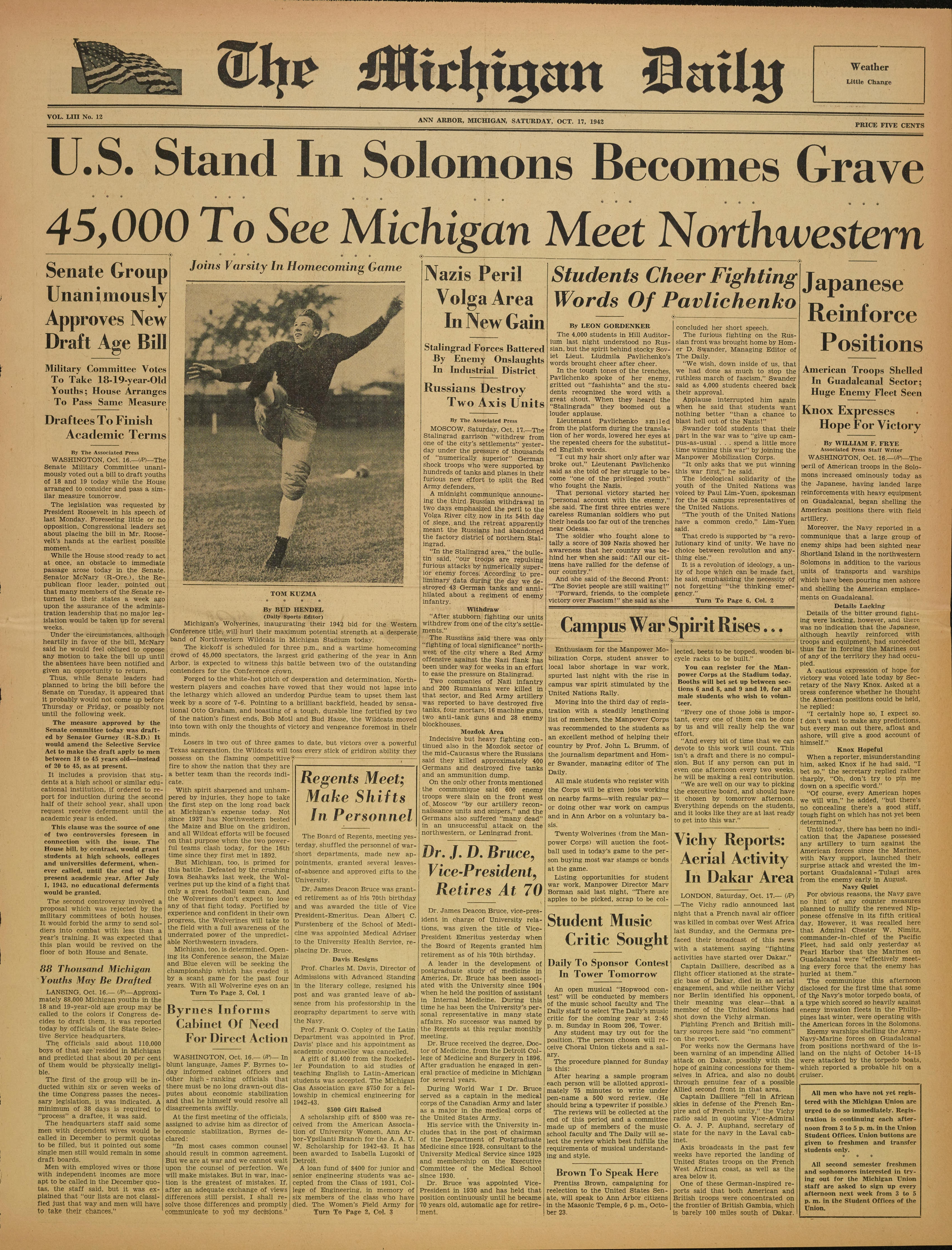 Michigan Daily Digital Archives - October 17, 1942 (vol  53