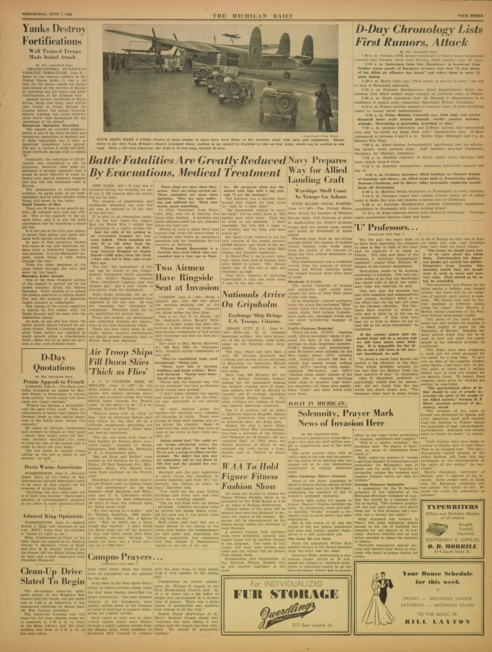 Michigan Daily Digital Archives - June 07, 1944 (vol  54, iss  154