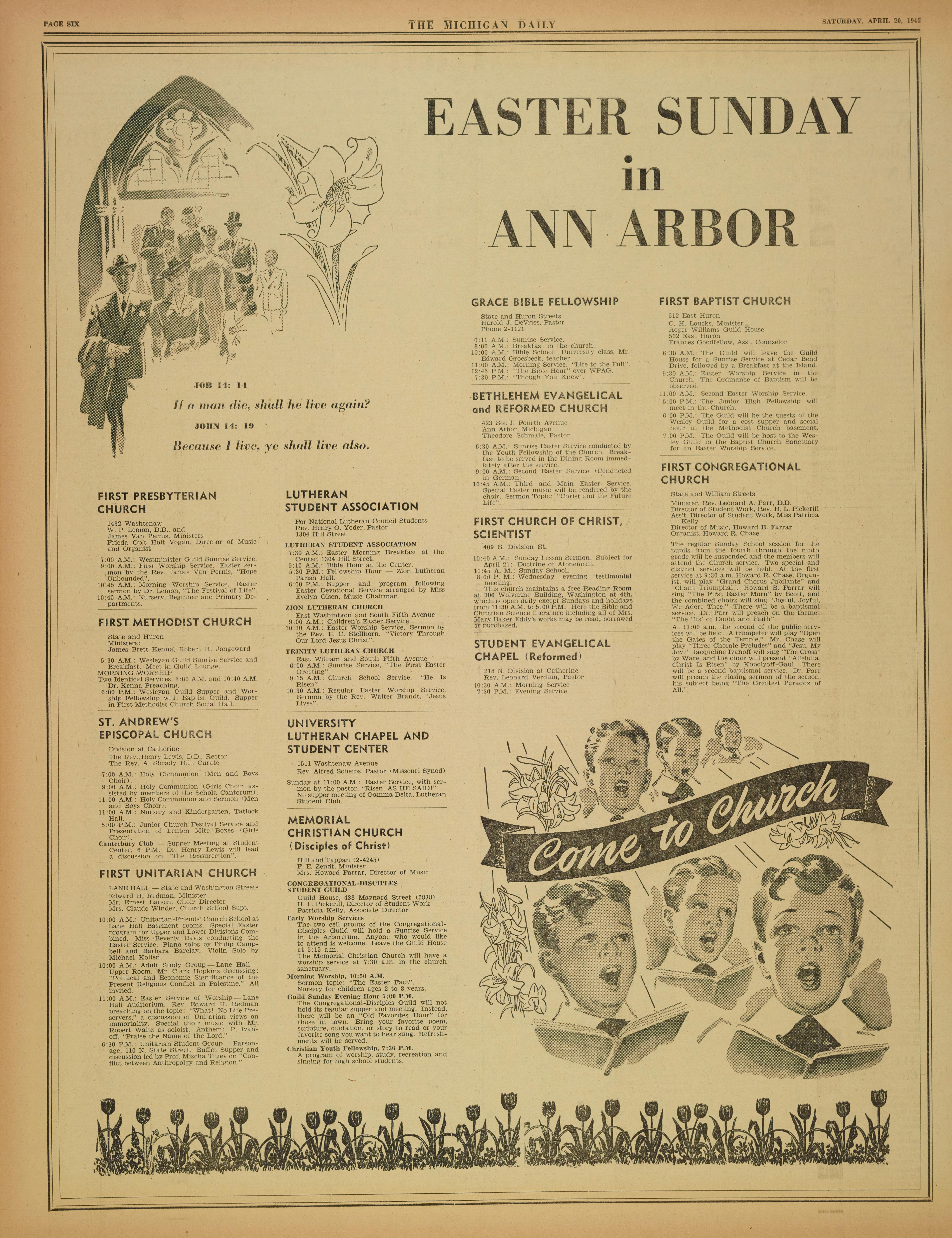 Michigan Daily Digital Archives - April 20, 1946 (vol  56, iss  119