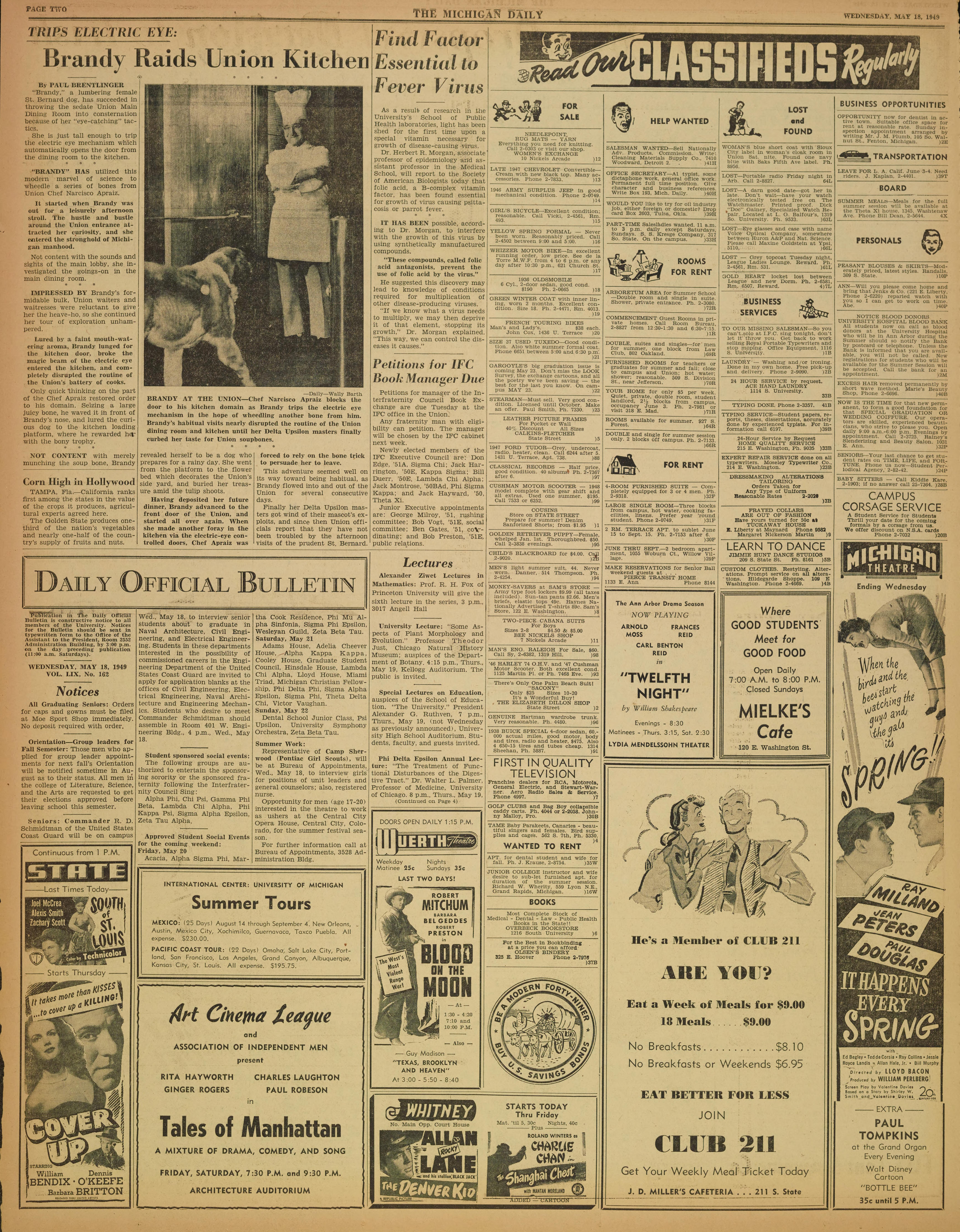 Michigan Daily Digital Archives - May 18, 1949 (vol  59, iss