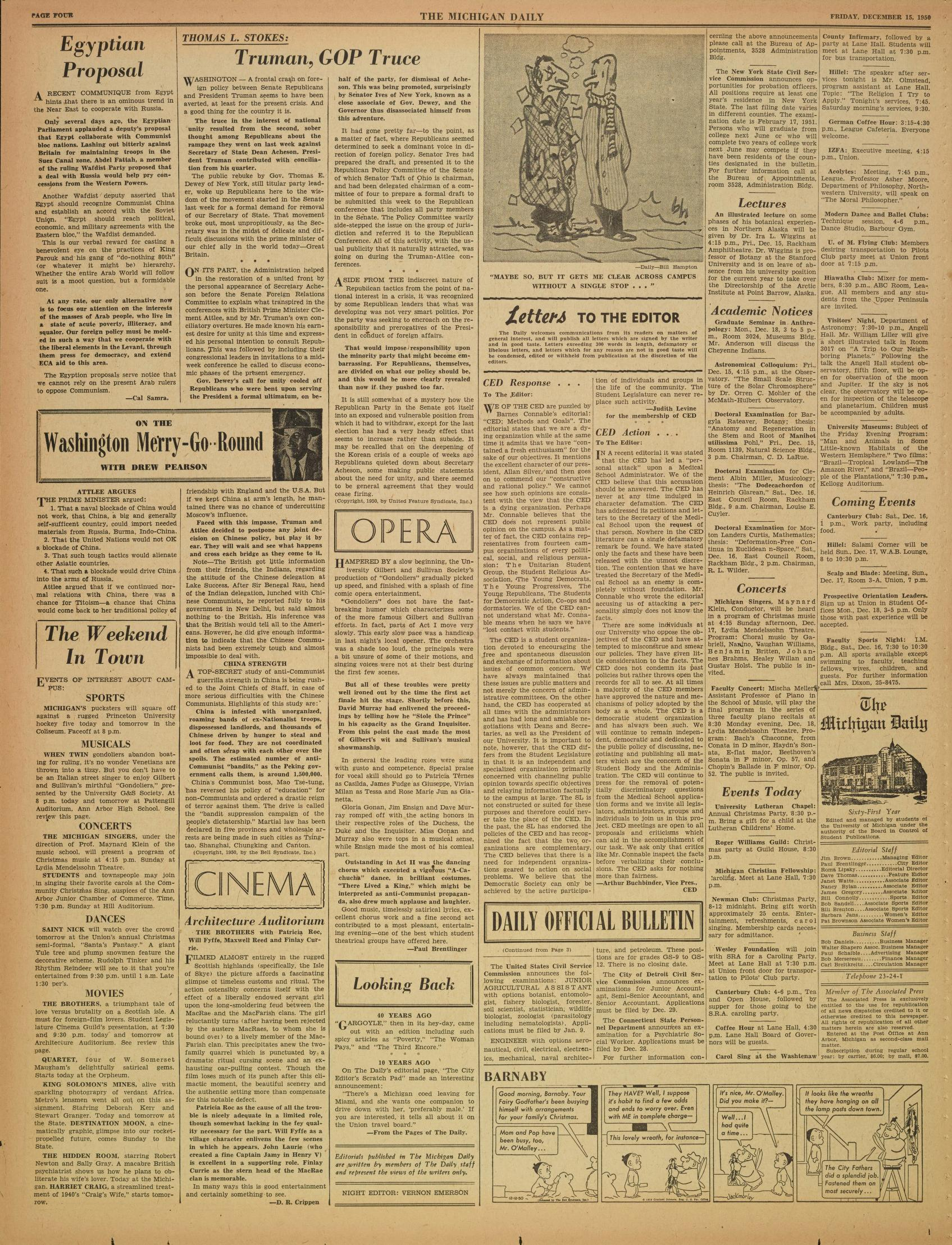 Michigan Daily Digital Archives - December 15, 1950 (vol  61, iss