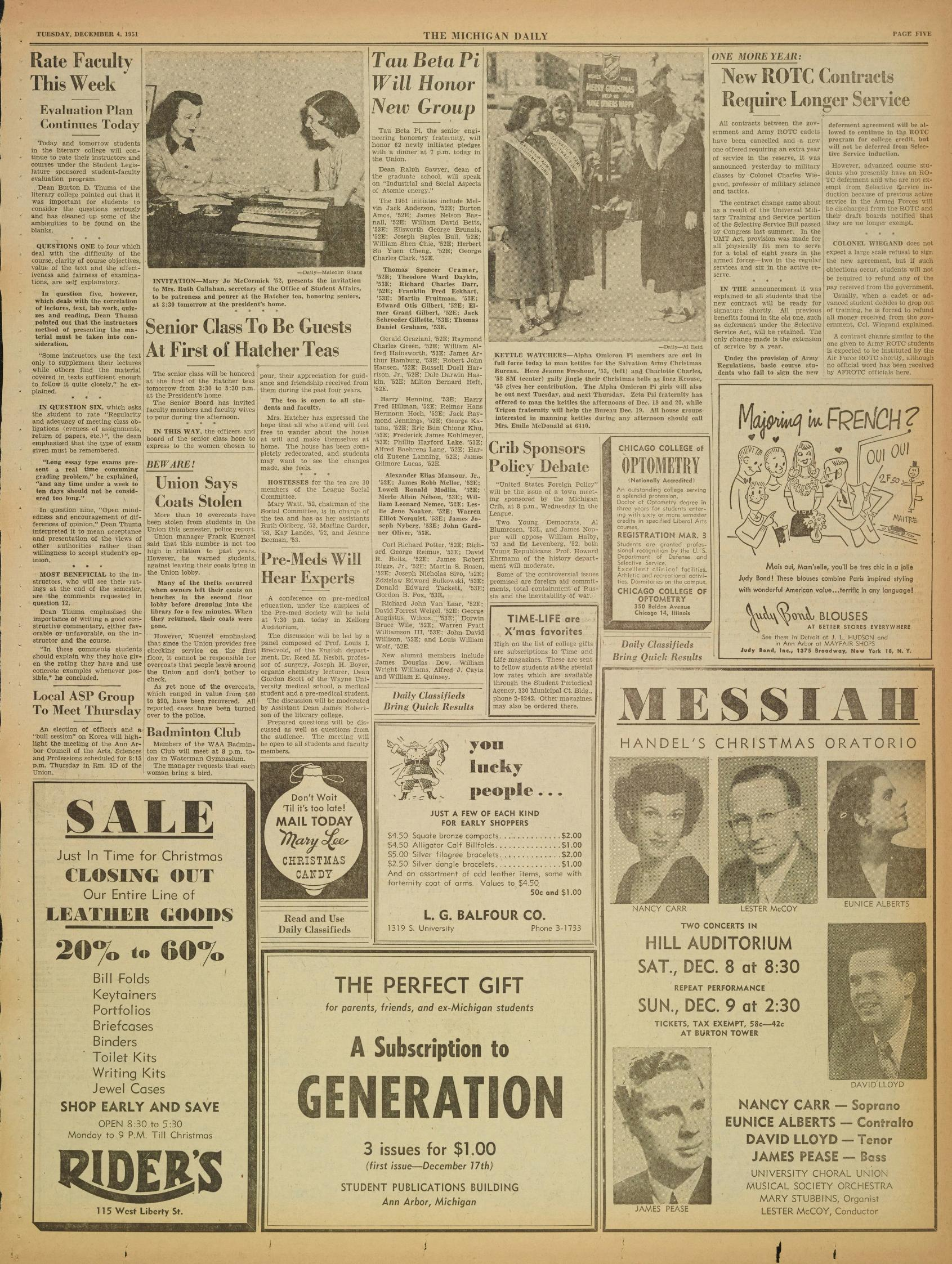 Michigan Daily Digital Archives - December 04, 1951 (vol. 62, iss ...