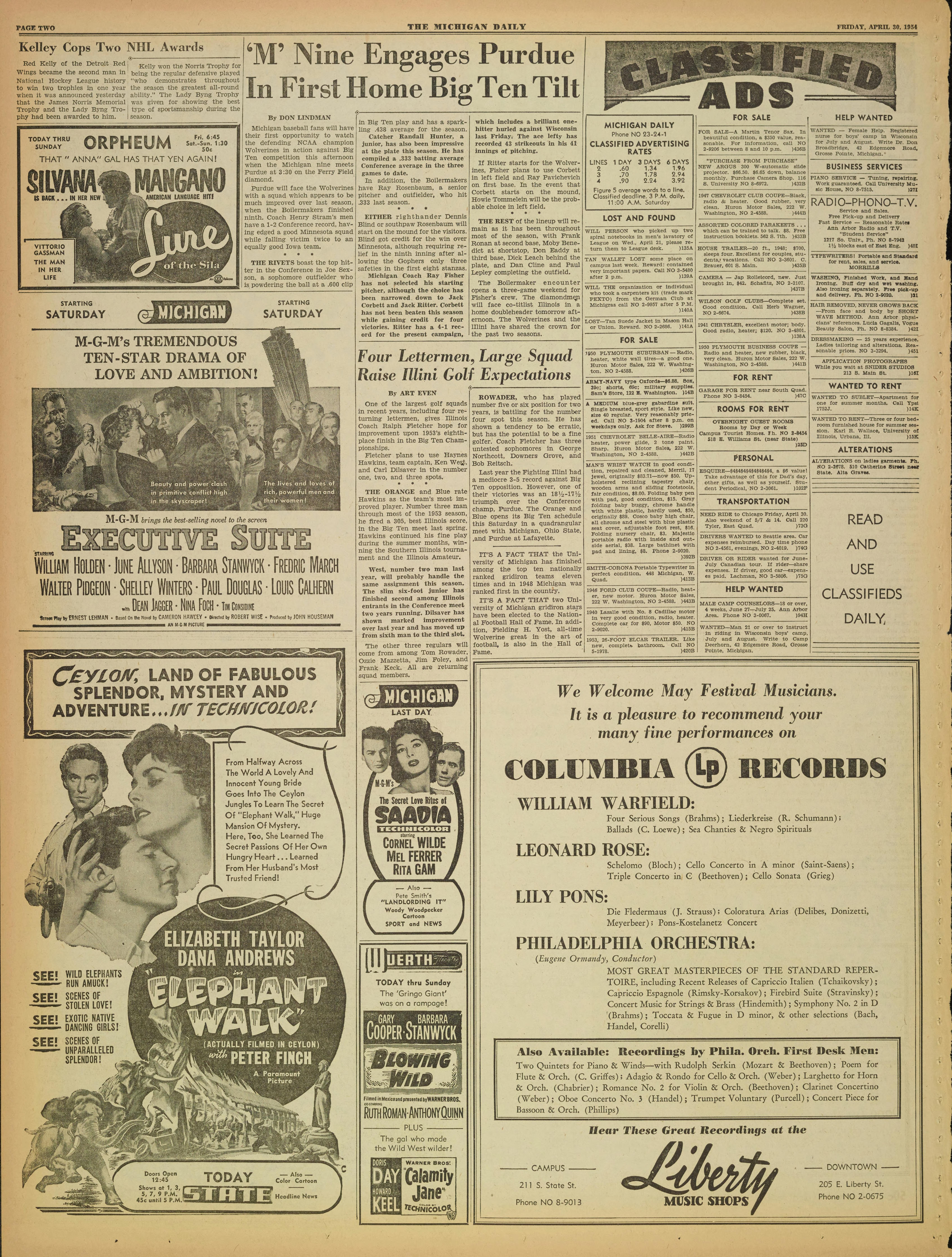 Michigan Daily Digital Archives - April 30, 1954 (vol  64, iss  145