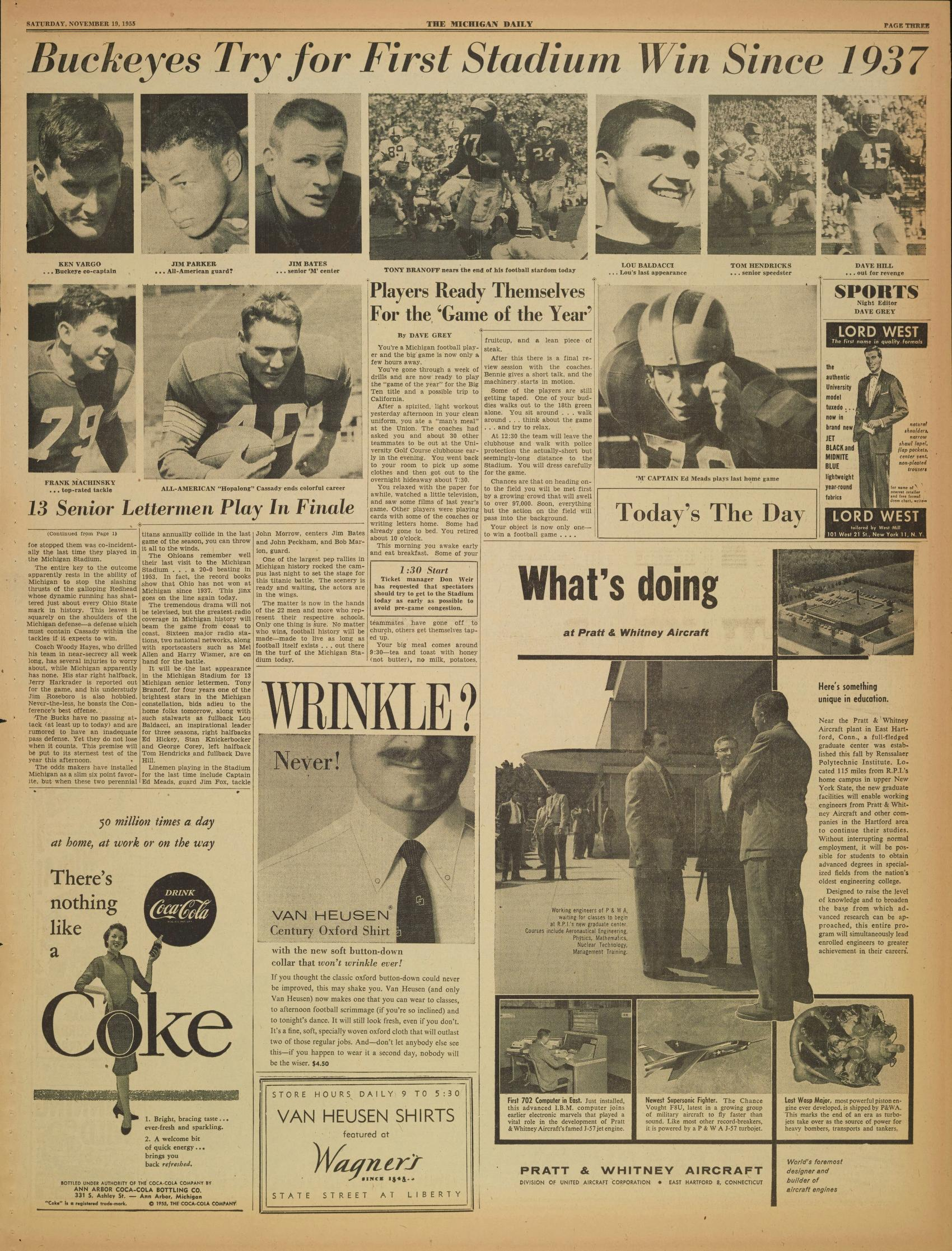 Michigan Daily Digital Archives - November 19, 1955 (vol  66