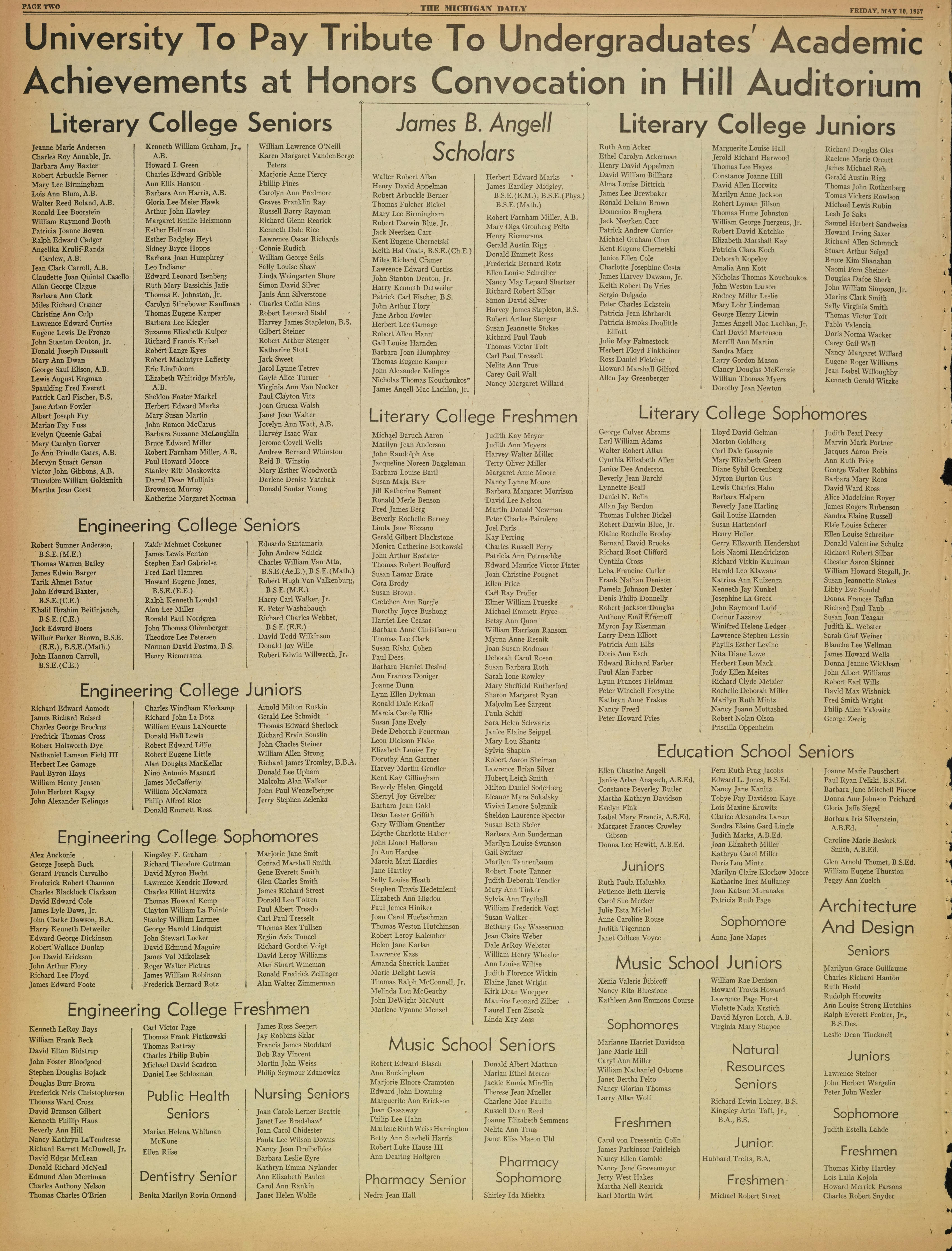 Michigan Daily Digital Archives - May 10, 1957 (vol  67, iss