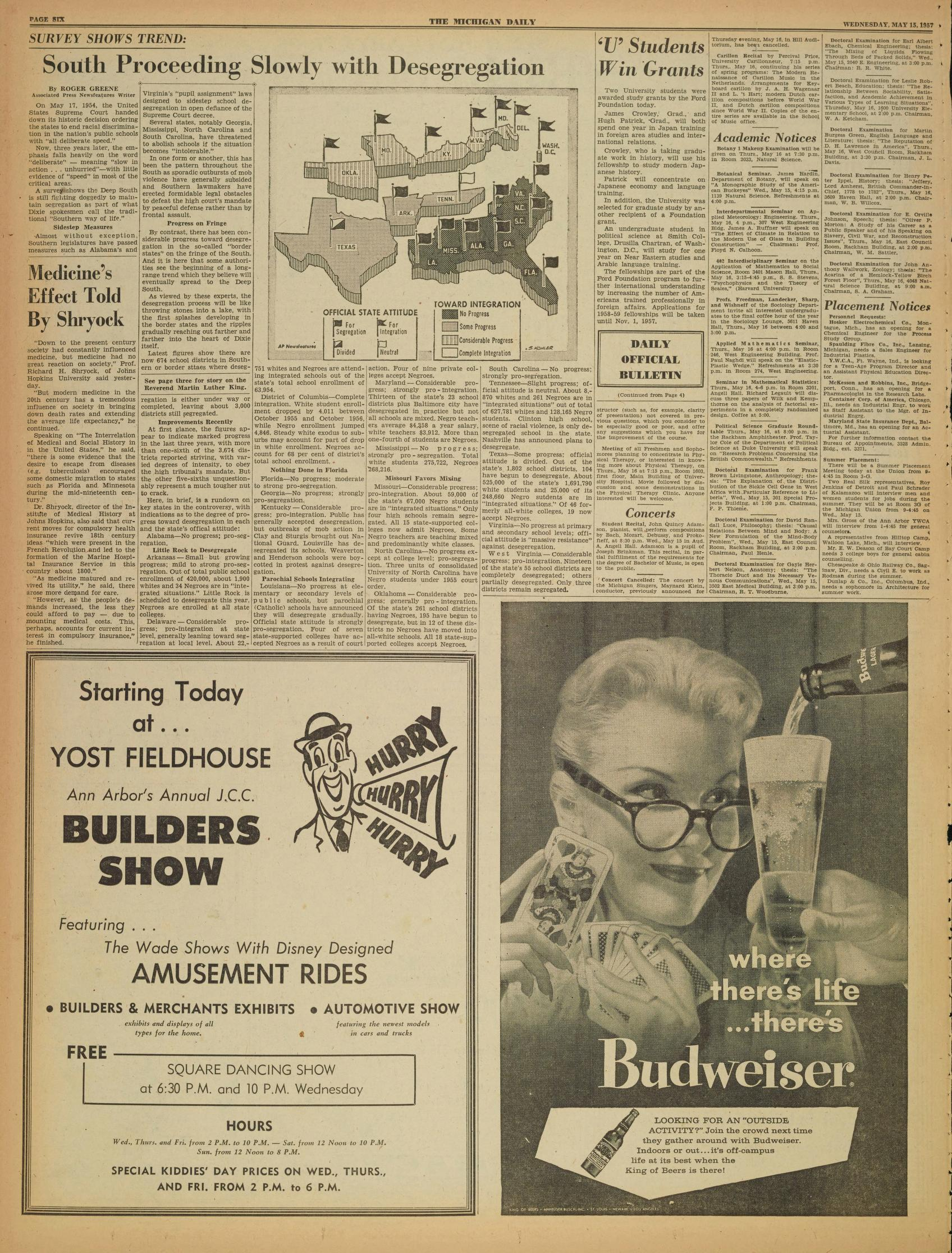 Michigan Daily Digital Archives - May 15, 1957 (vol  67, iss