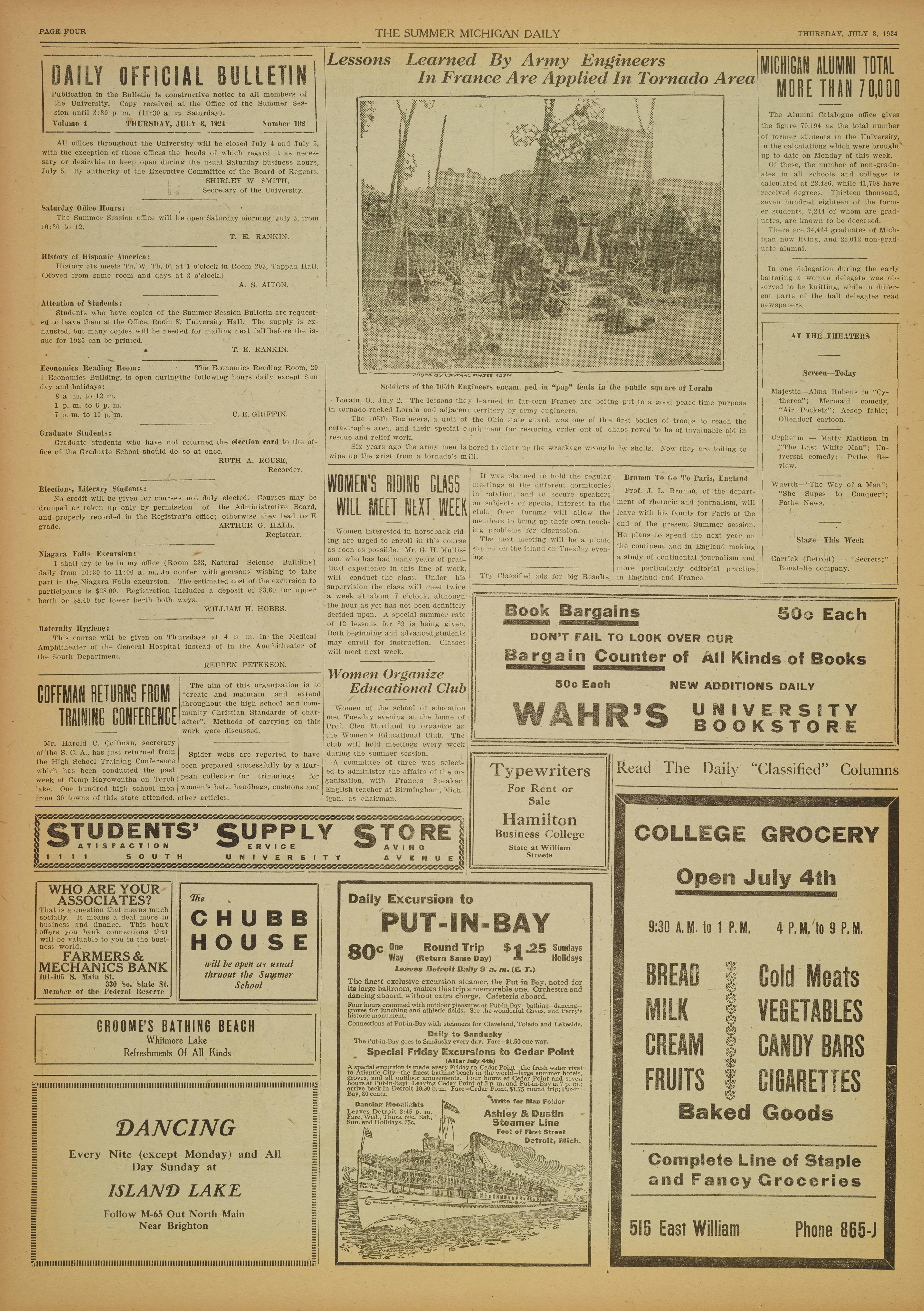 Michigan Daily Digital Archives - July 03, 1924 (vol  15