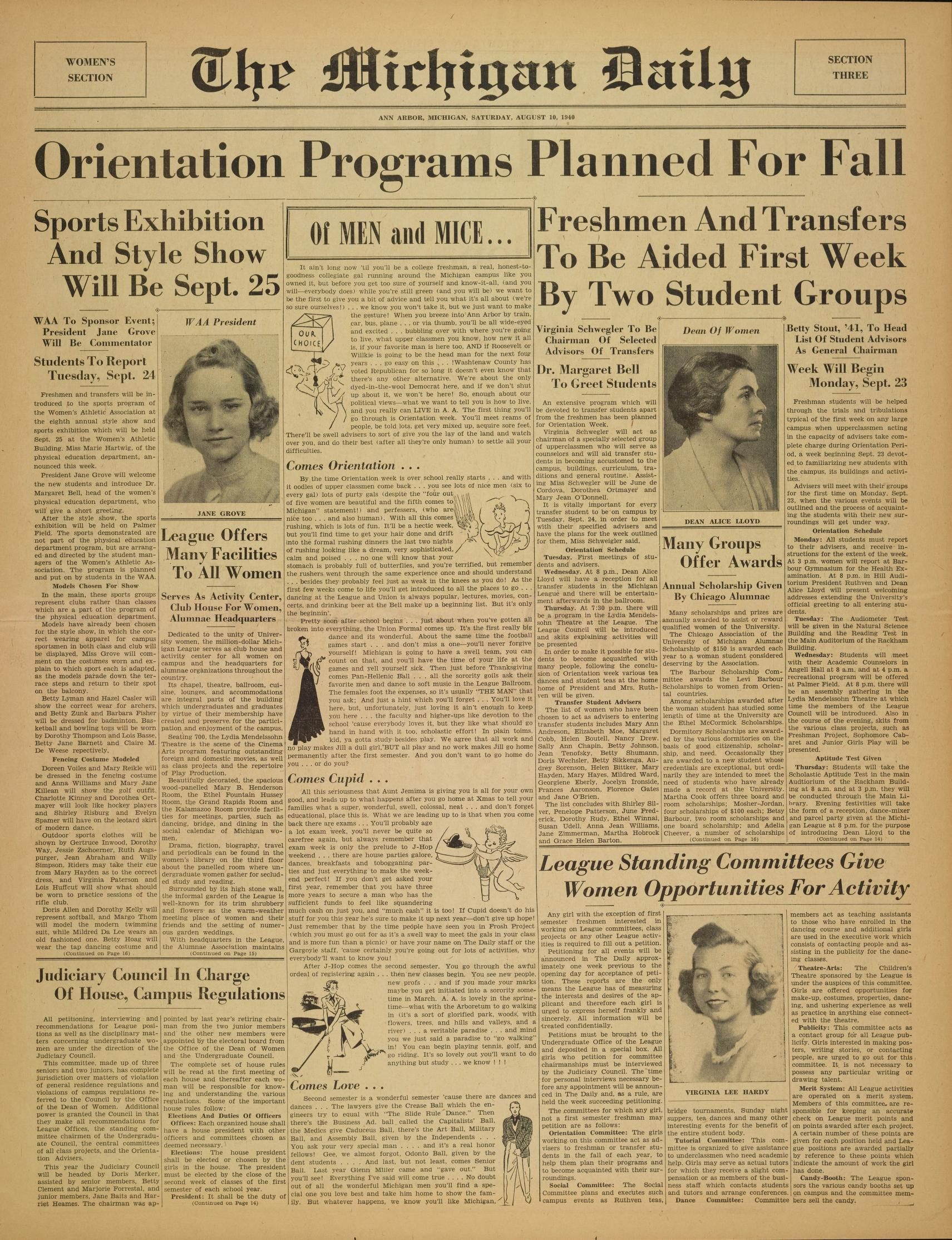 Michigan Daily Digital Archives August 10 1940 vol 50 iss 41