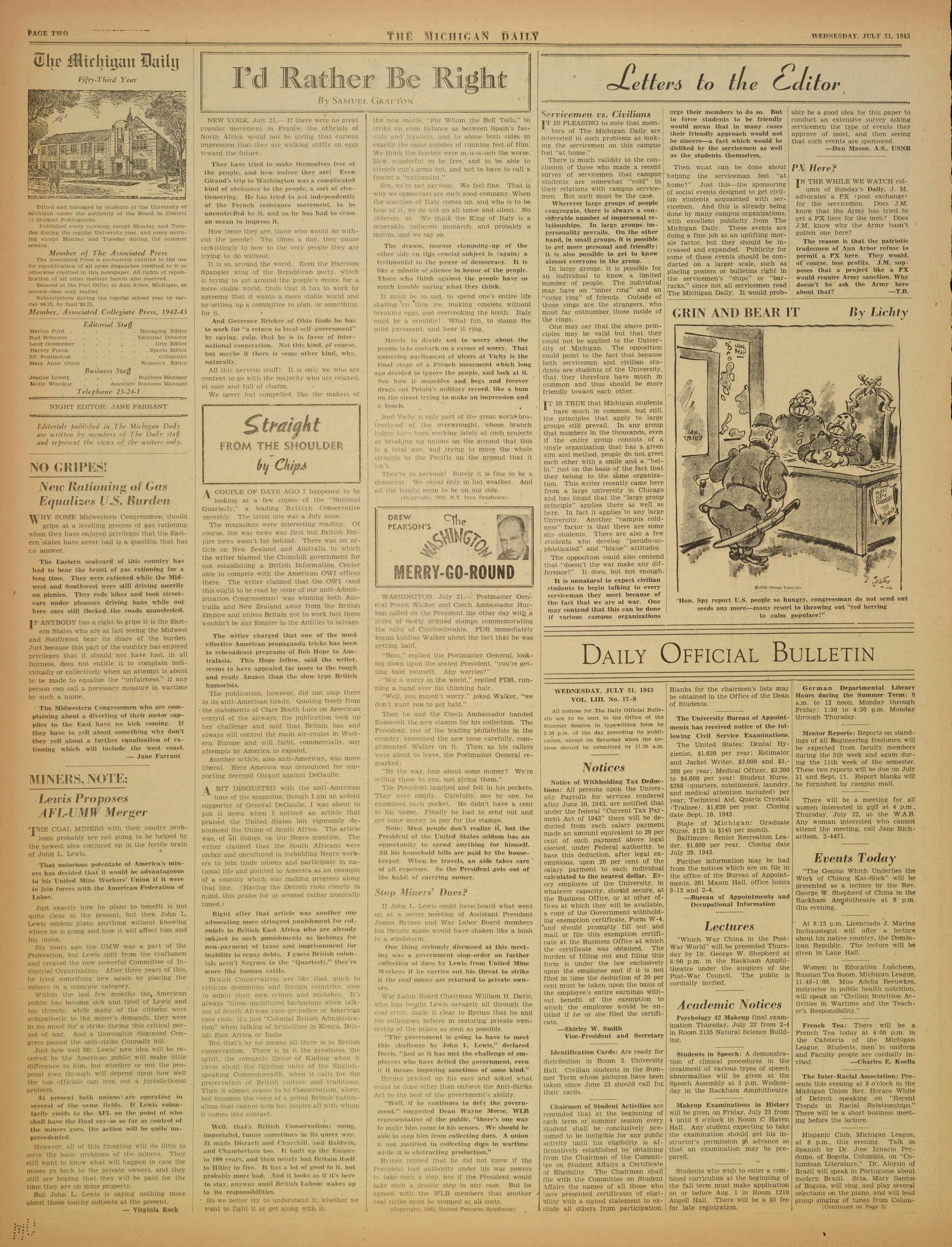 Michigan Daily Digital Archives - July 21, 1943 (vol  53