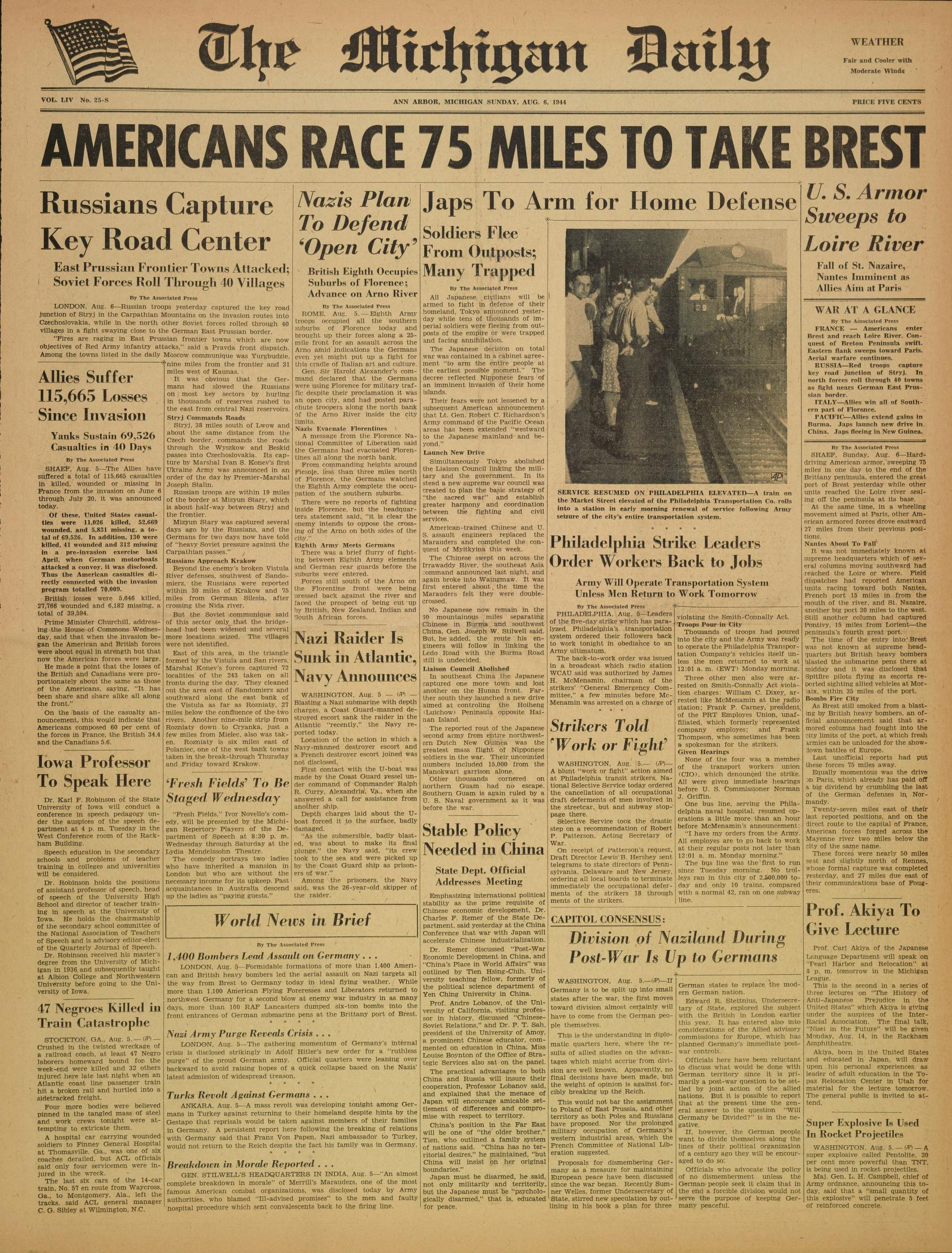 Michigan Daily Digital Archives - August 06, 1944 (vol  54