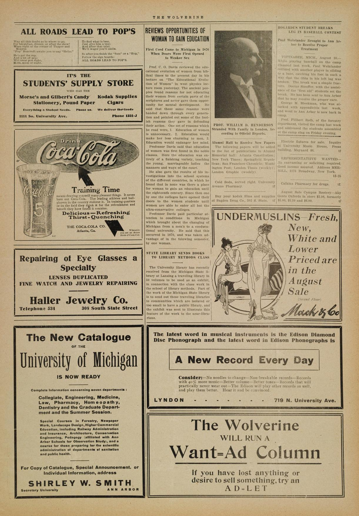 Michigan Daily Digital Archives - August 11, 1914 (vol  5