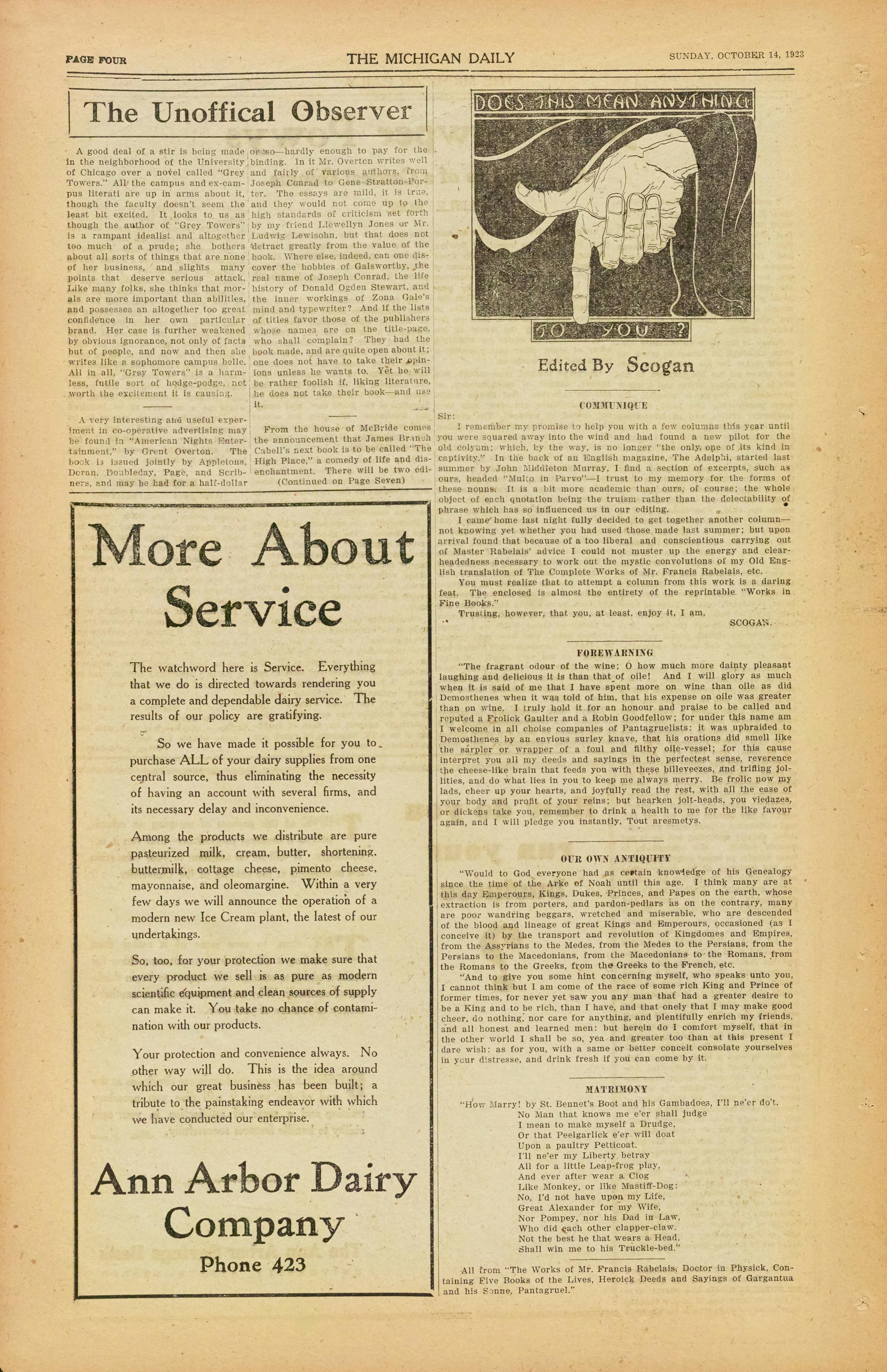 Surprising Michigan Daily Digital Archives October 14 1923 Vol 0 Download Free Architecture Designs Aeocymadebymaigaardcom