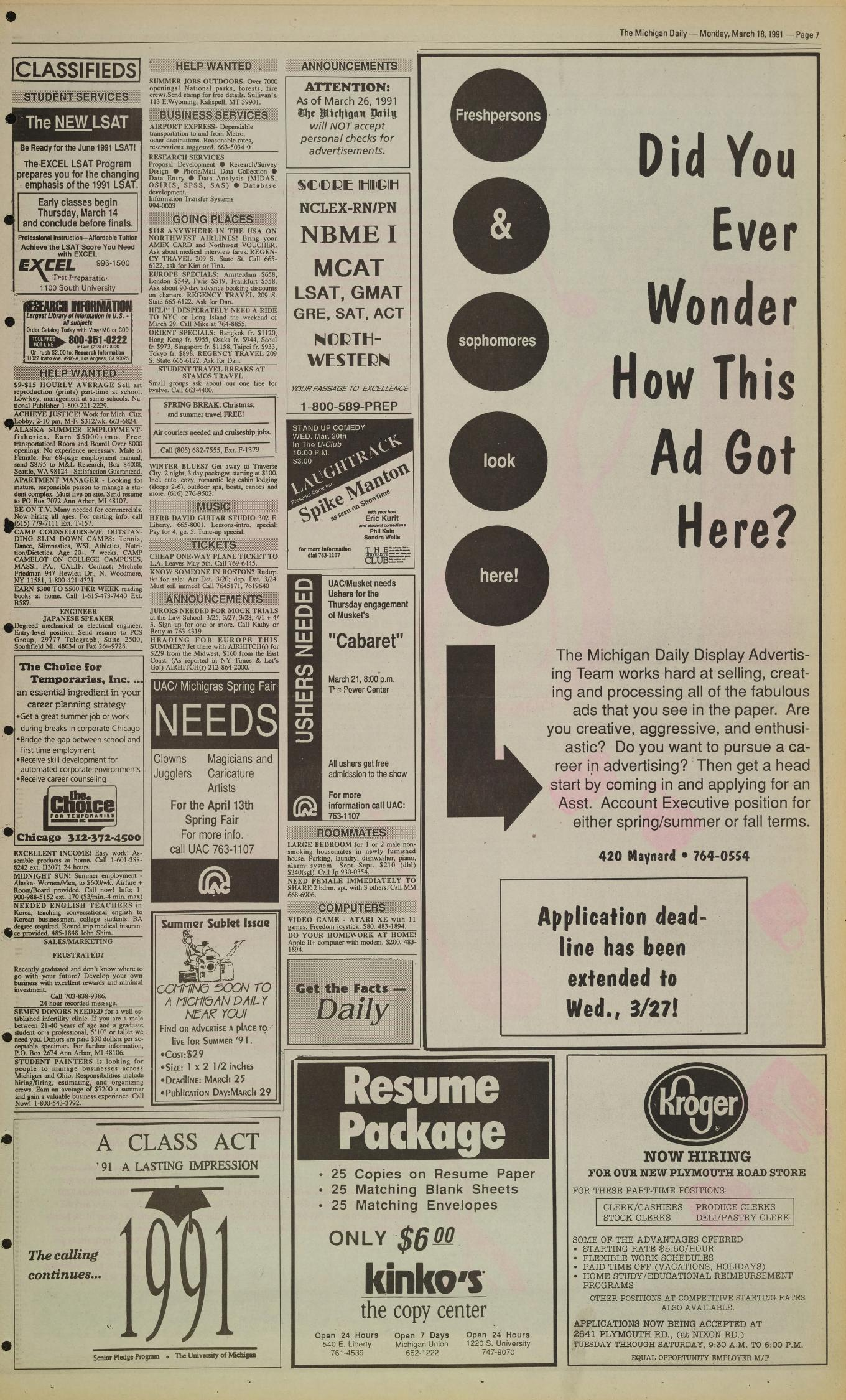 Michigan Daily Digital Archives - March 18, 1991 (vol  101