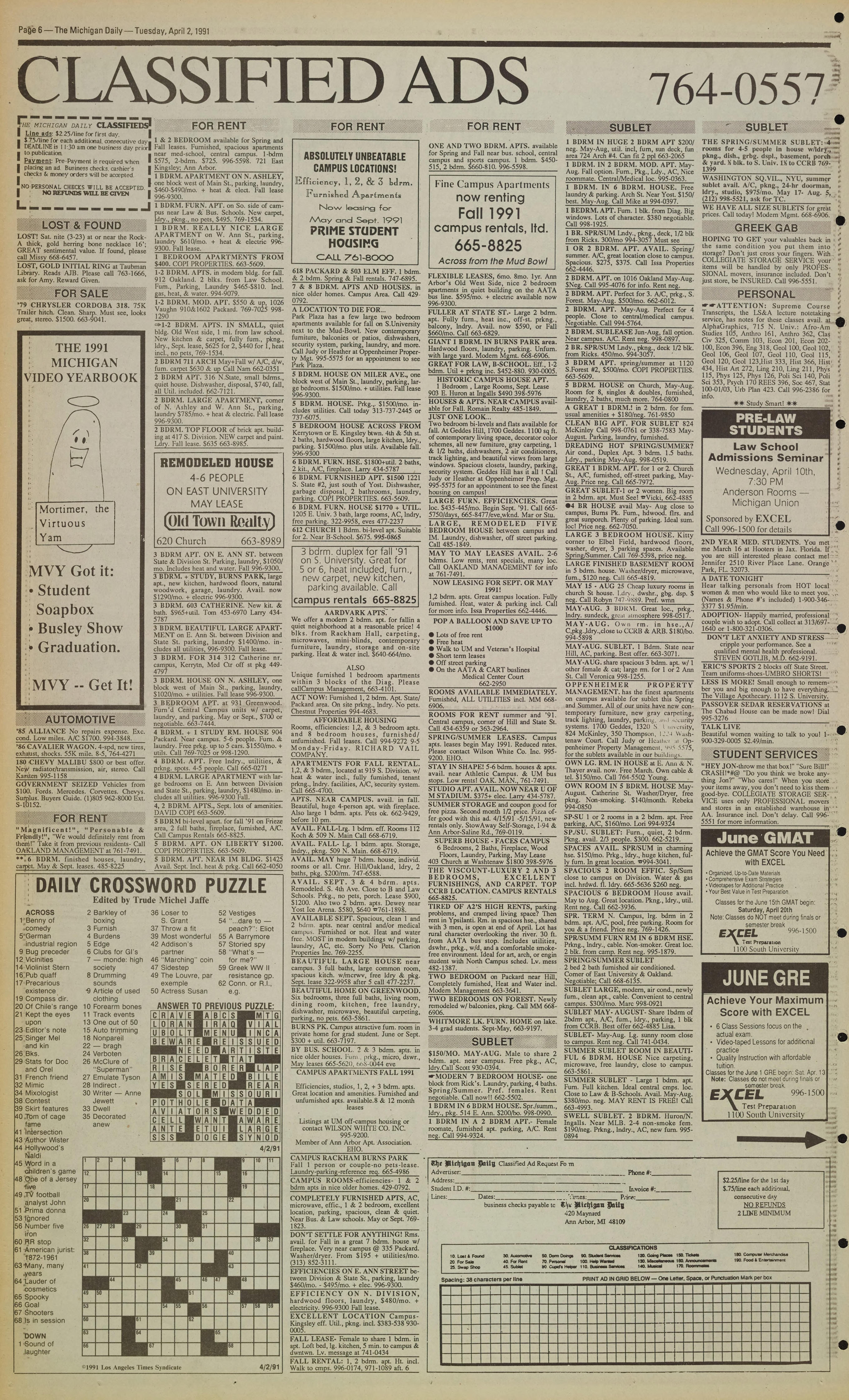 Michigan Daily Digital Archives - April 02, 1991 (vol  101