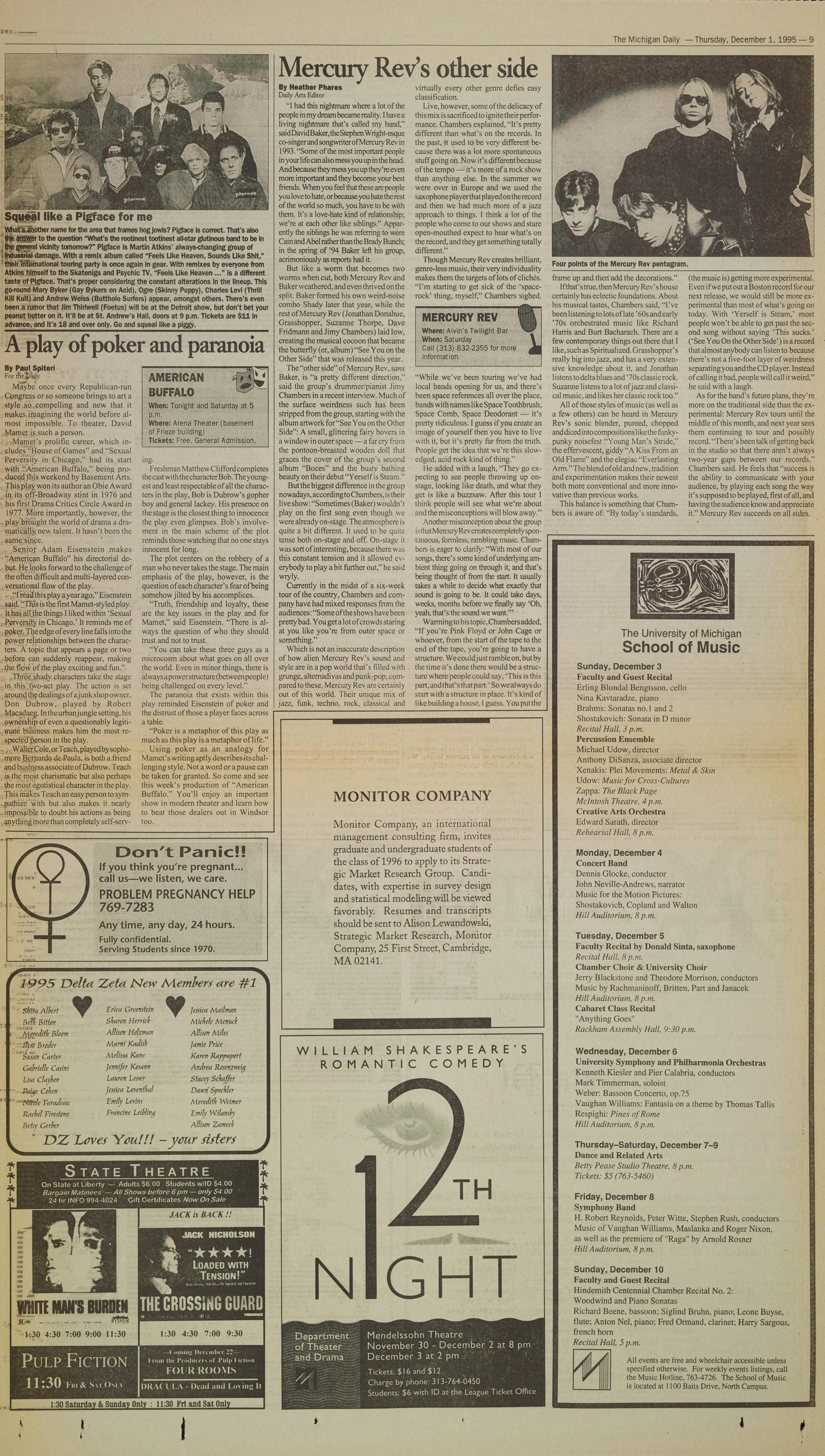 Michigan Daily Digital Archives - December 01, 1995 (vol