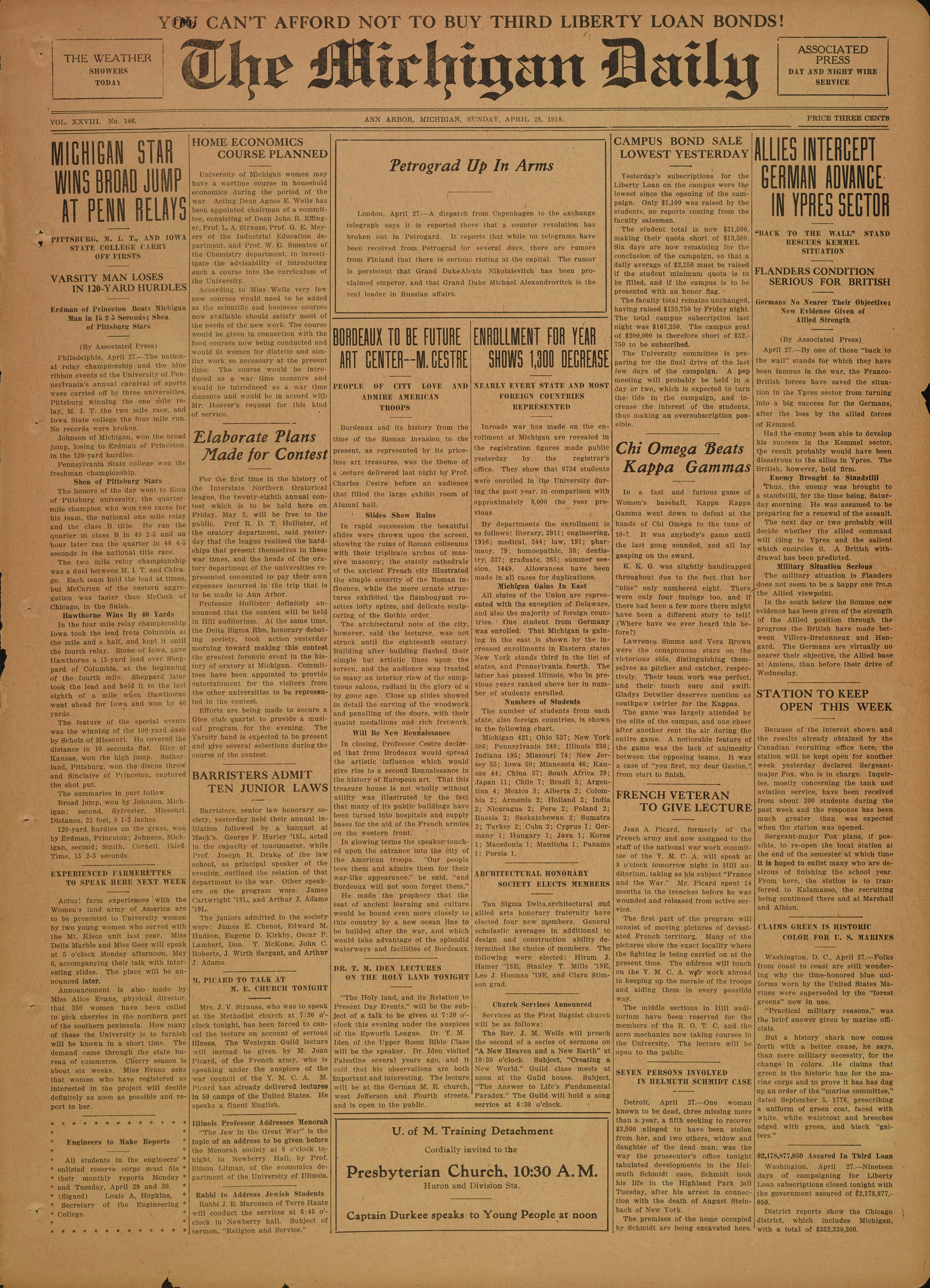 Michigan Daily Digital Archives April 28 1918 vol 28 iss 146
