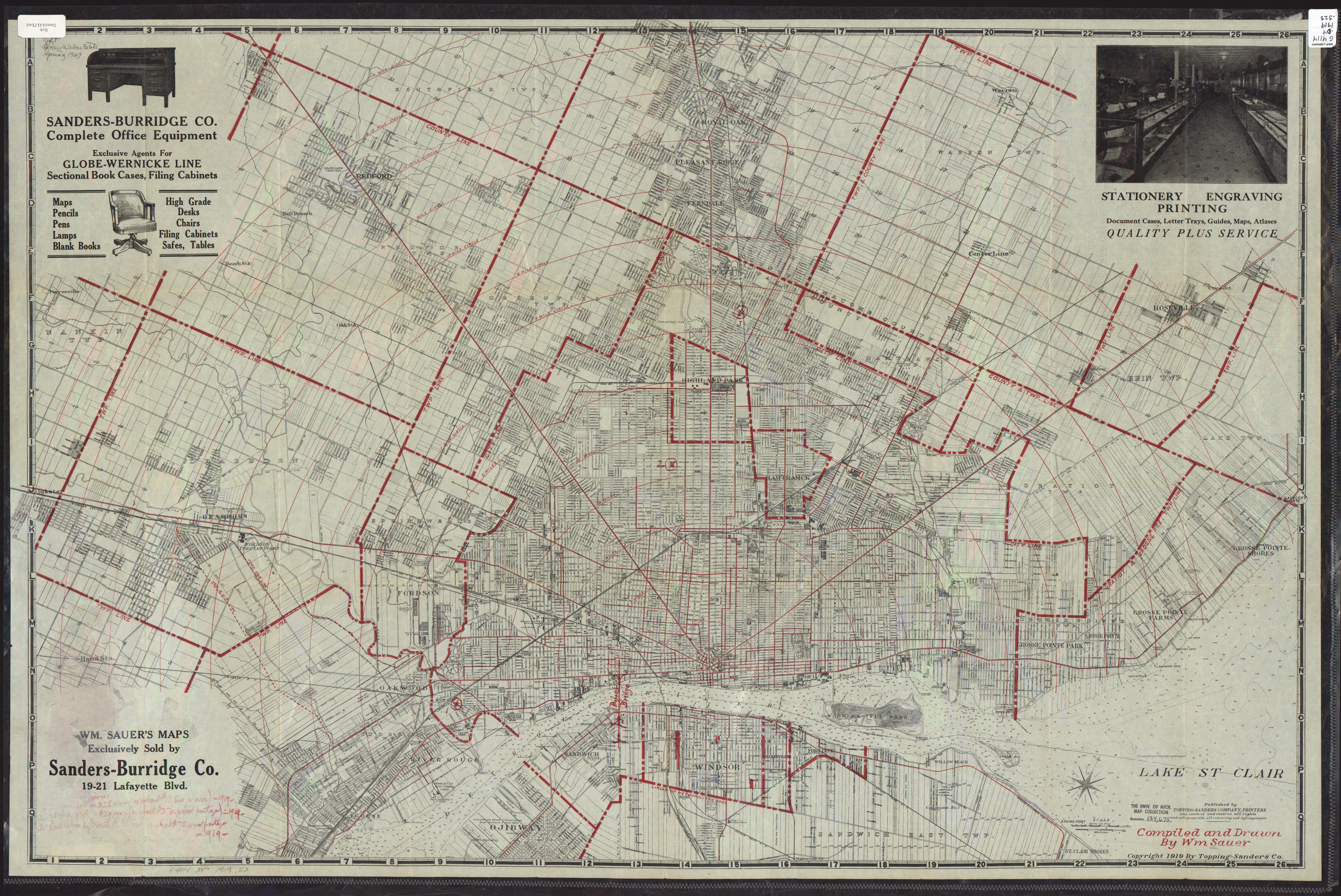 UM Clark Liry Maps: Sauer's map of the city of Detroit and ... on map of delaware, map of new york, map of midwest, map of chicago, map of harper woods, map of great lakes, map of miami, map of olivet, map of san jose, map of 8 mile, map of caro, map of giants, map of highland park, map of vassar, map of boston, map of pauls valley, map of toronto, map of tampa, map of auburn hills, map of michigan,