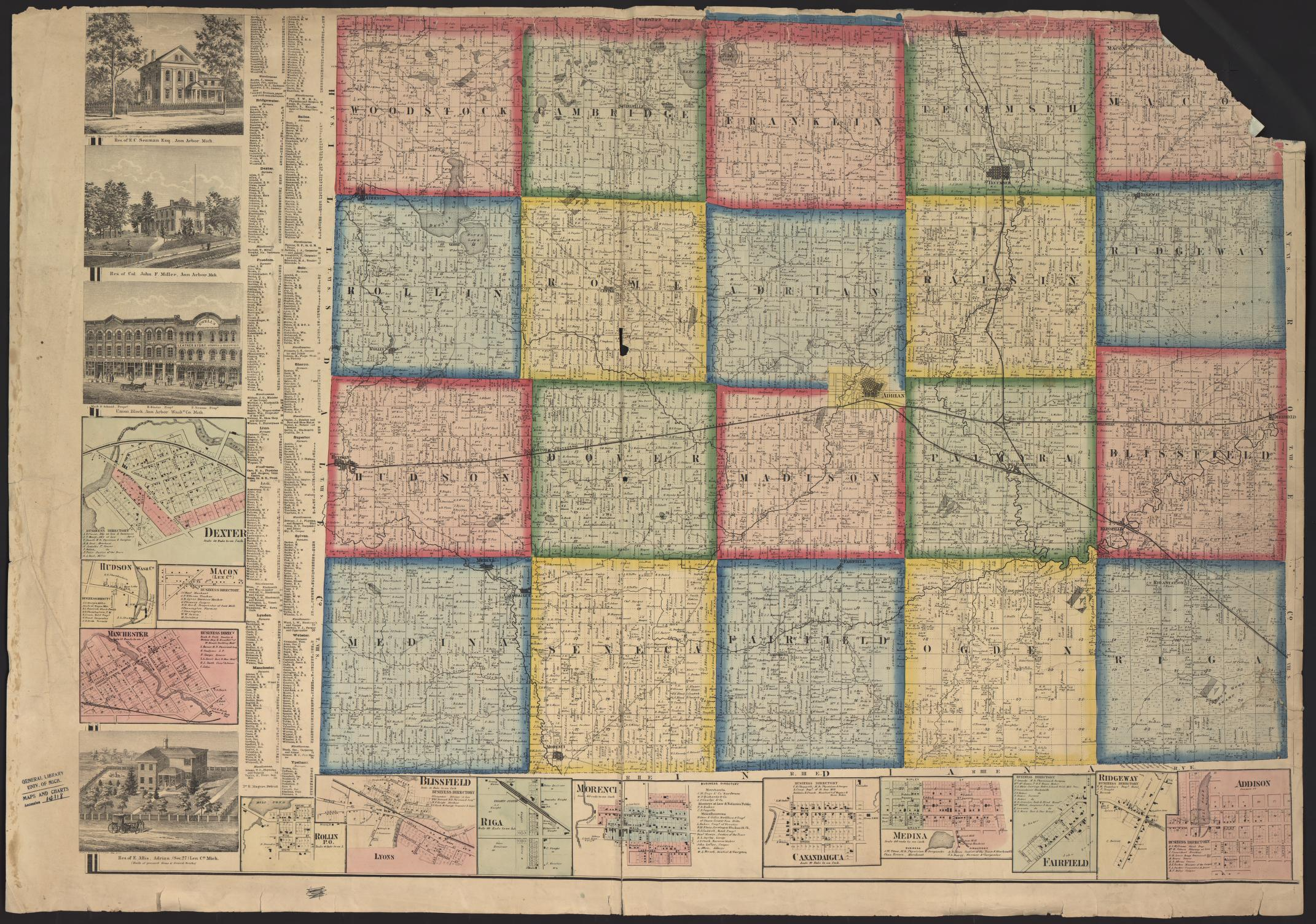 Addison Michigan Map.Um Clark Library Maps Map Of The Counties Of Washtenaw And Lenawee