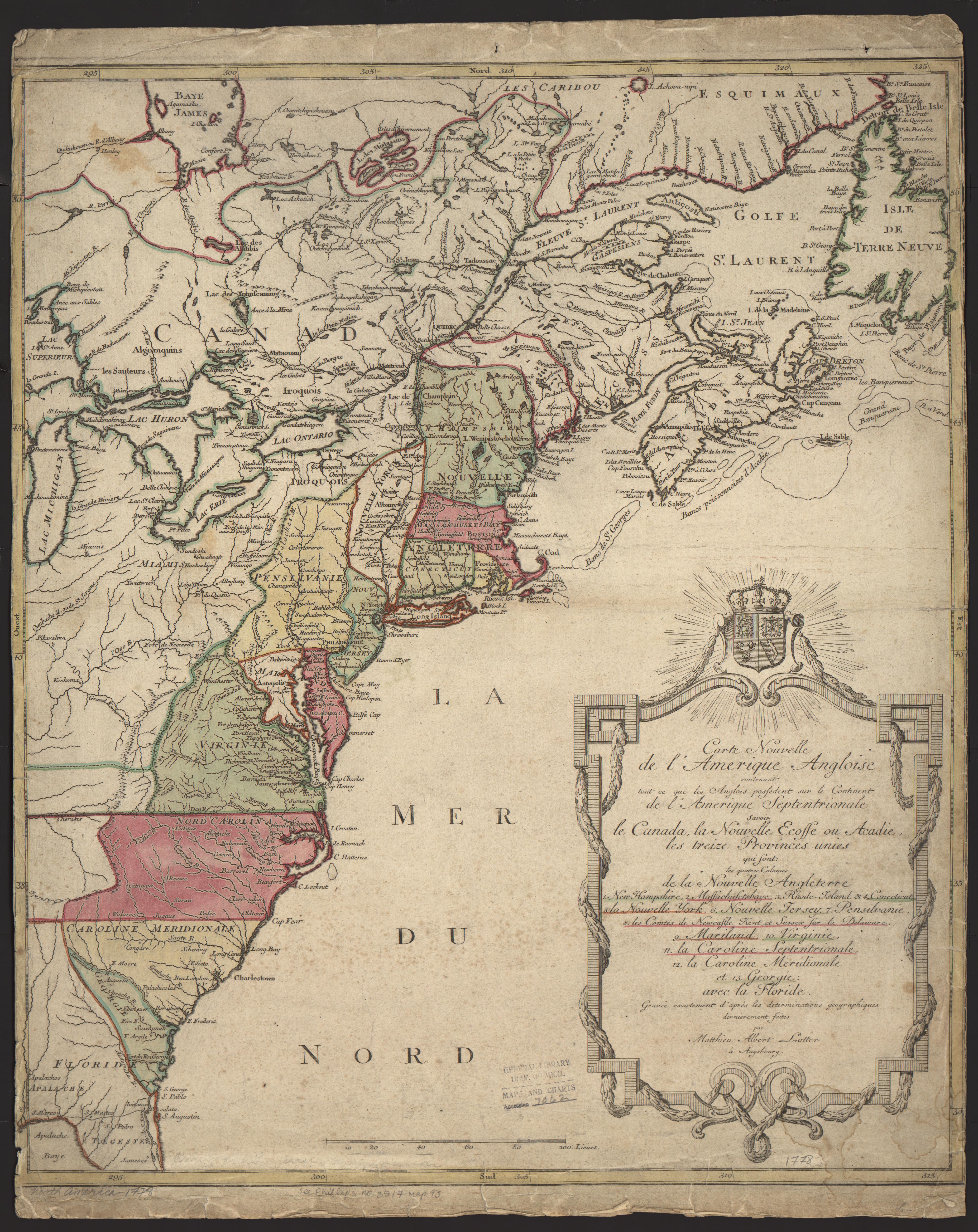 Anglois um clark library maps: carte nouvelle de l'amerique angloise