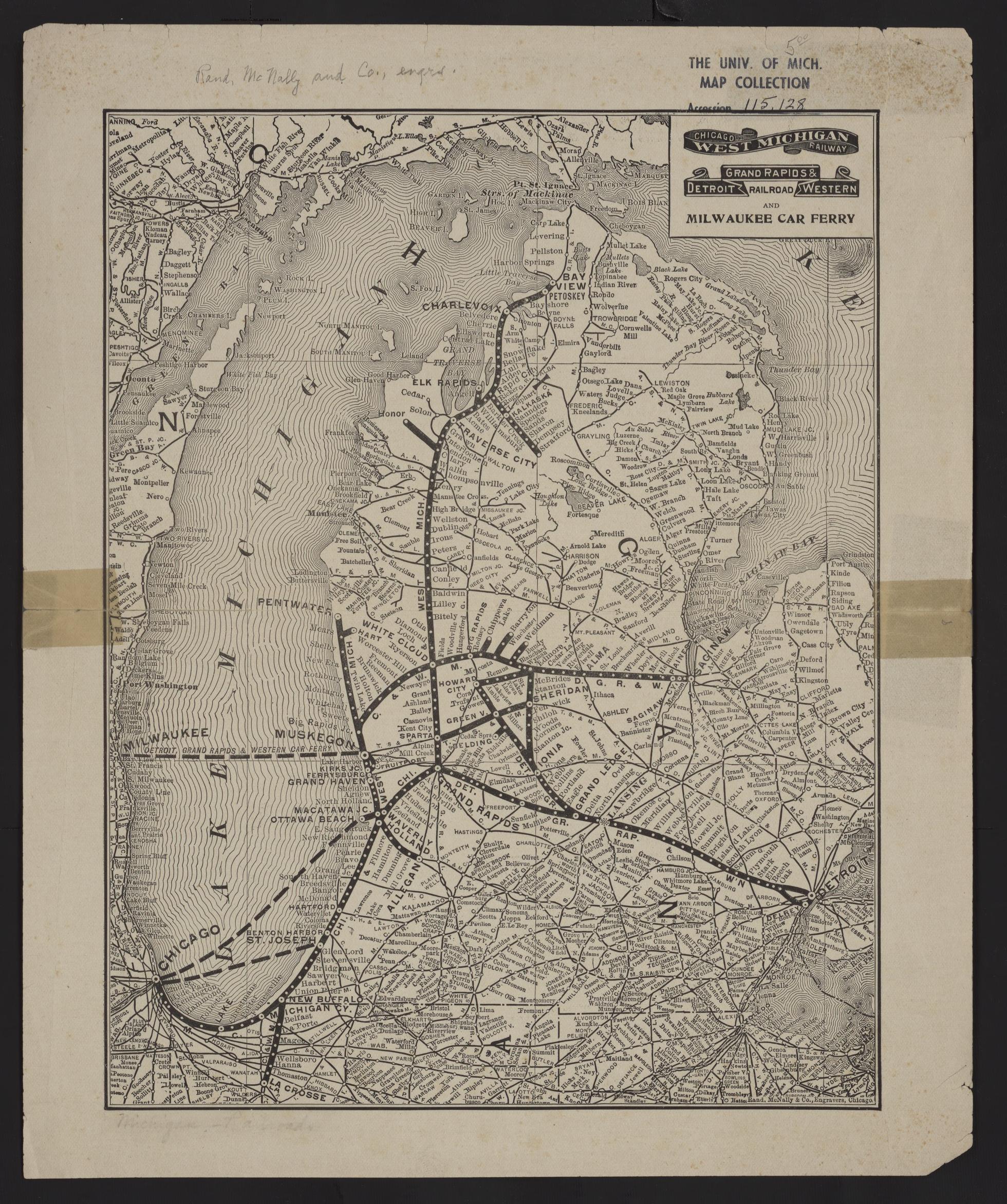 Remus Michigan Map.Um Clark Library Maps Chicago West Michigan Railway Detroit