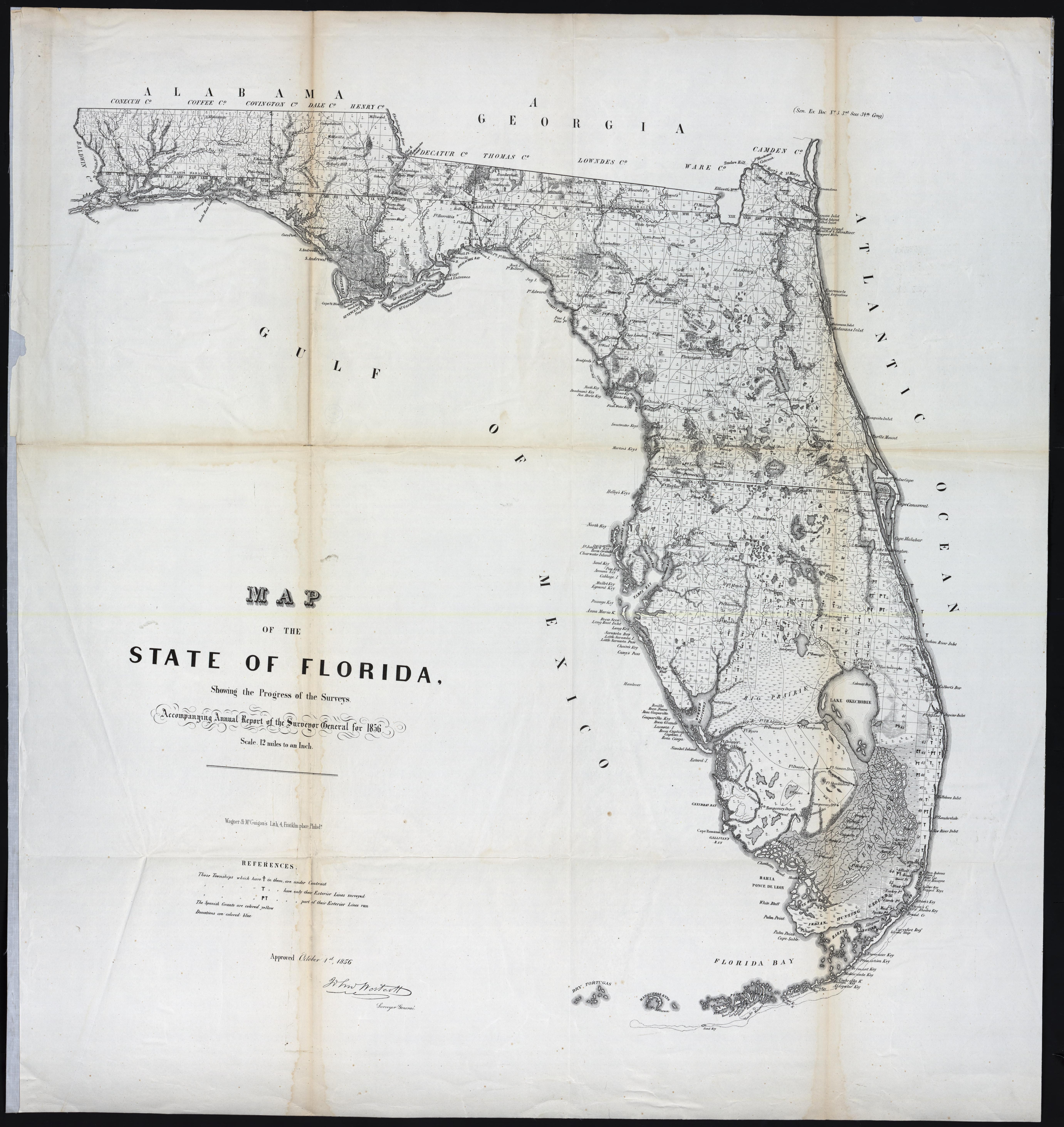 UM Clark Library Maps: Map of the State of Florida, showing