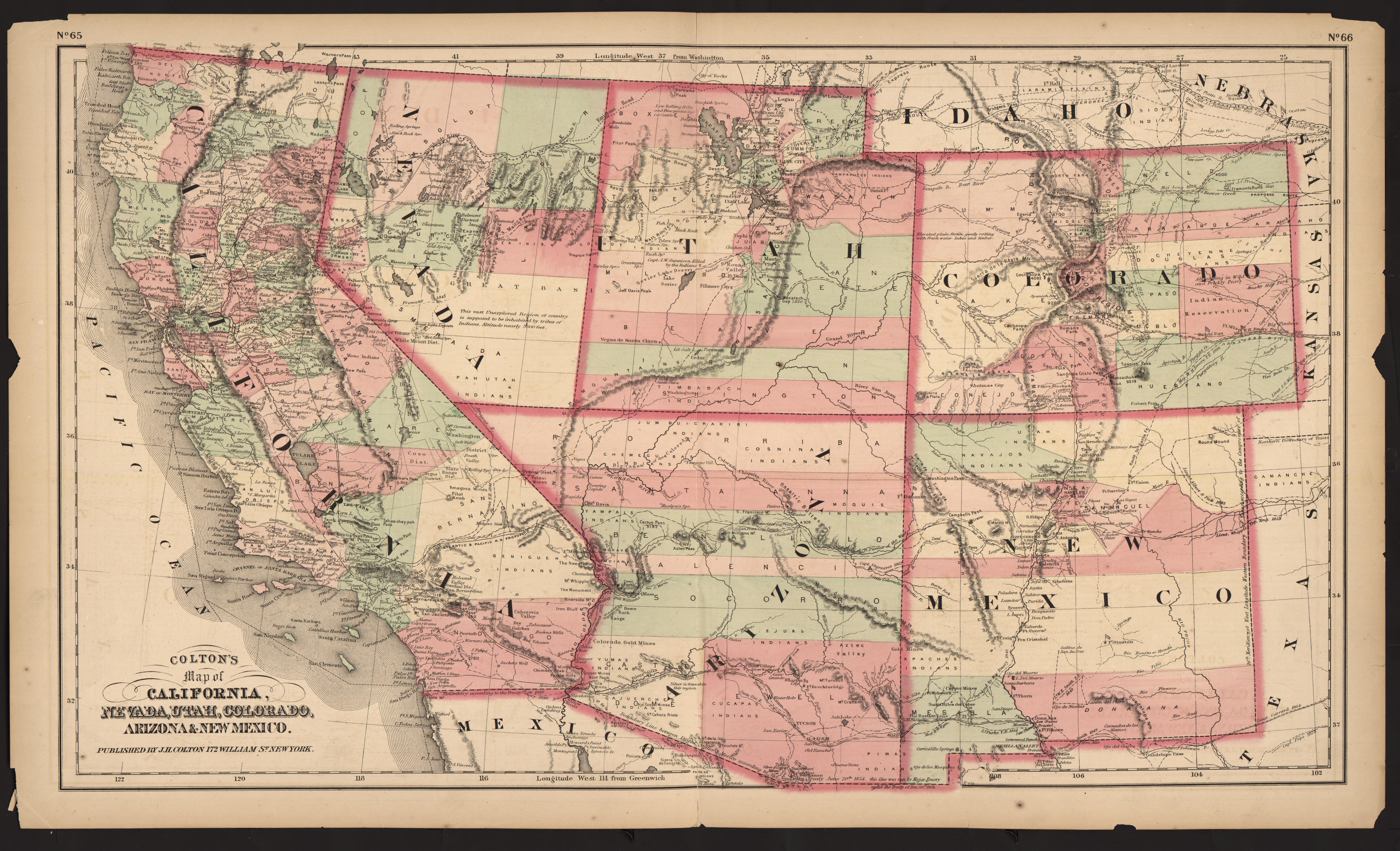 UM Clark Library Maps: Colton\'s map of California, Nevada, Utah ...