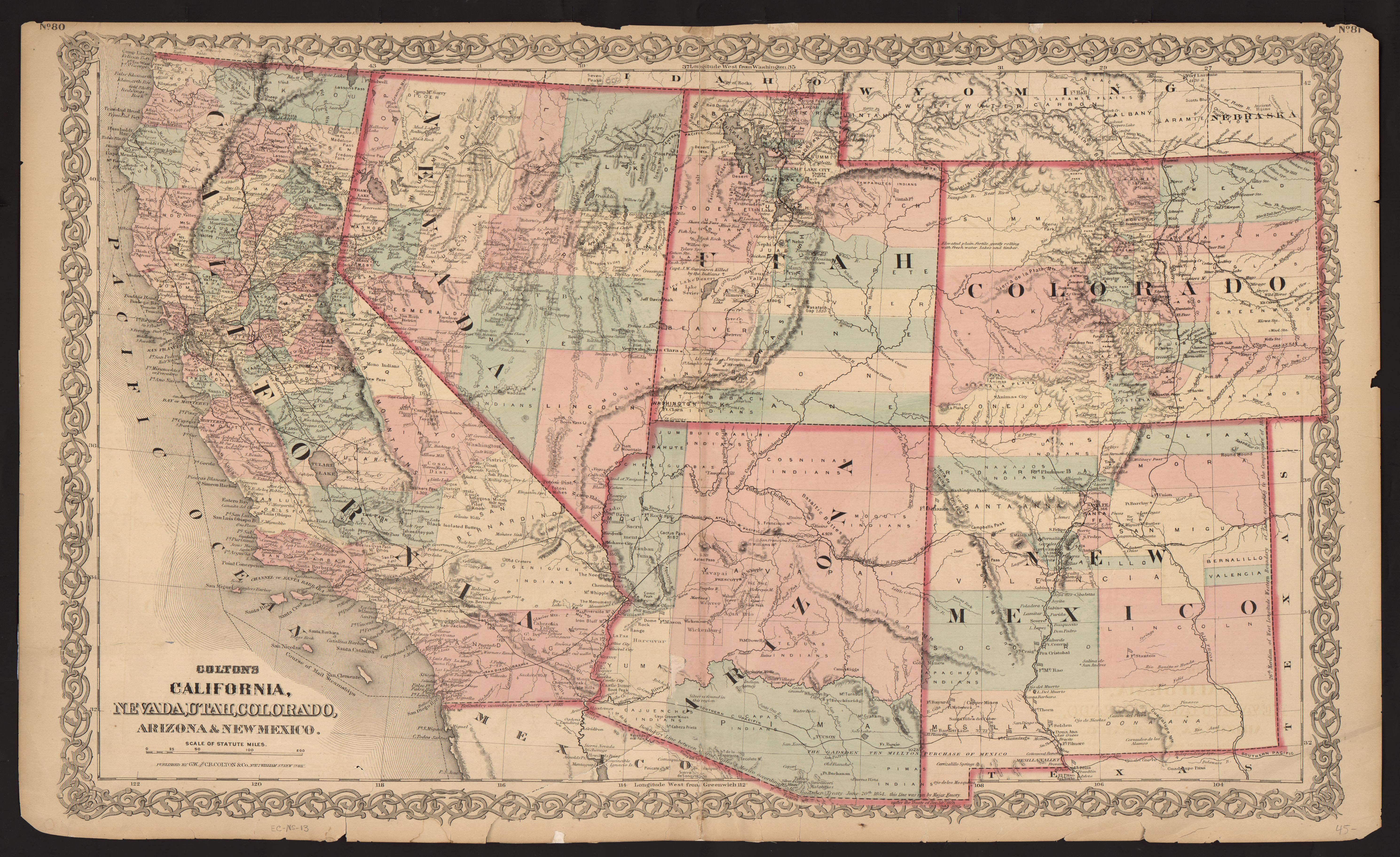 Map Of Nevada Utah And Arizona.Um Clark Library Maps Colton S Map Of California Nevada Utah