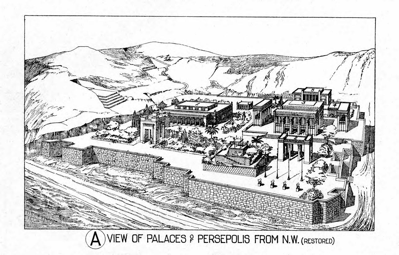Historic Illustrations Of Art And Architecture View Of Palace Of Persepolis From N W Restored