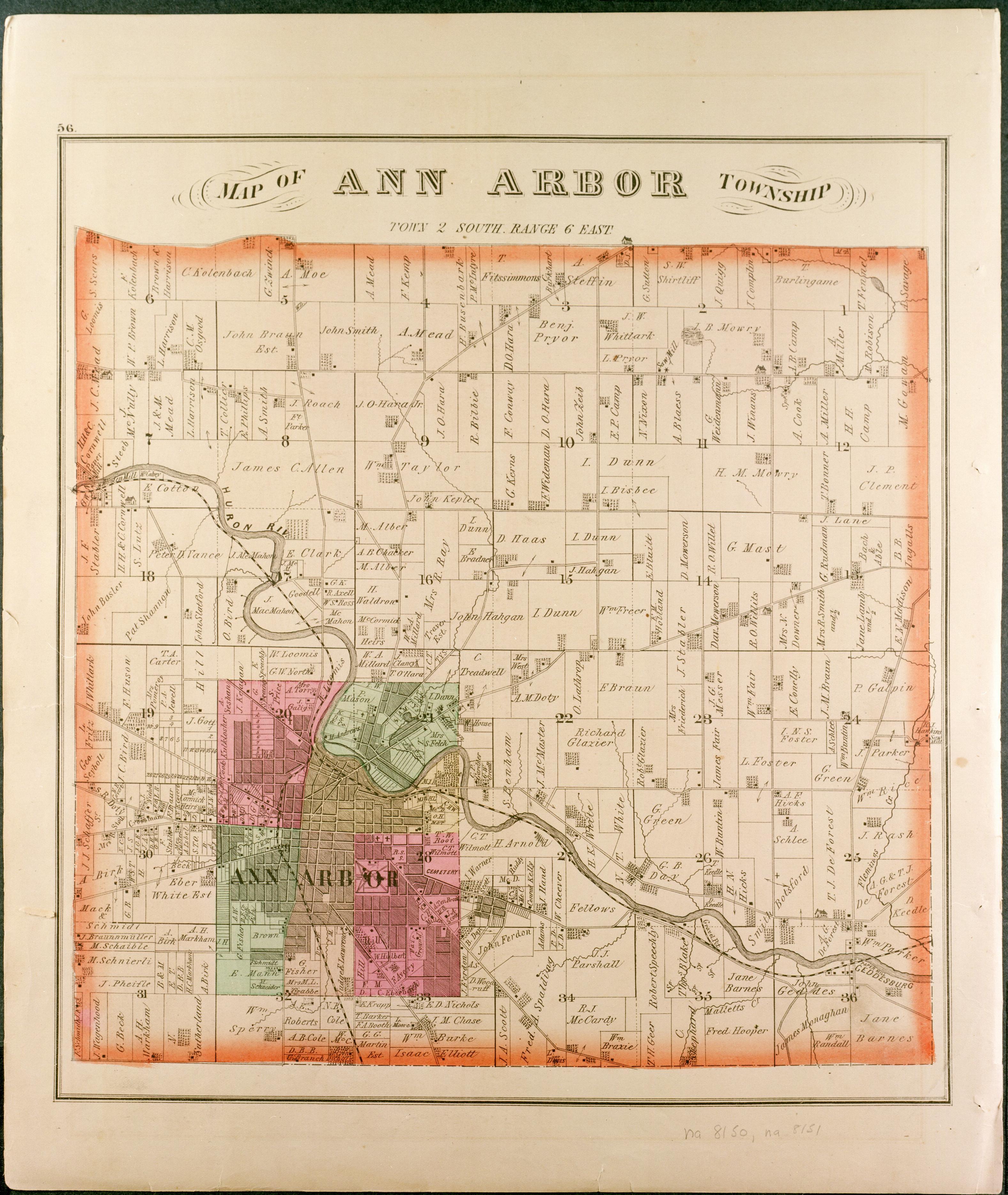 Pictorial History Of Ann Arbor Map Of Ann Arbor Township Town - Ann arbor map