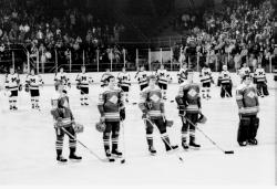 UM Ice Hockey, 1985, vs Spartak, lined up for national anthems