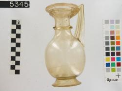 glass jug with one handle; Glass vessels; Glass; undecorated