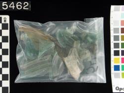 bag of glass sherds; Karanis; Glass vessels; Glass