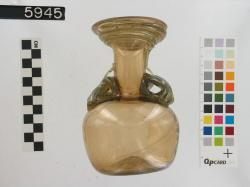 Glass jug with two handles; Karanis; Glass vessels; Glass