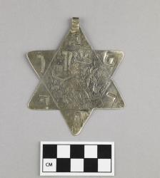 Amulet; silver, hand-pounded and engraved, 3.25