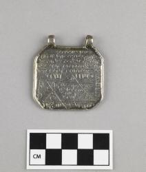 Amulet; silver, hand-pounded and engraved, 1.5