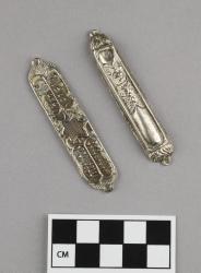 Mezuzah; 2 pieces, silver, 2.75