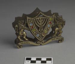 Napkin or letter holder; brass, 4