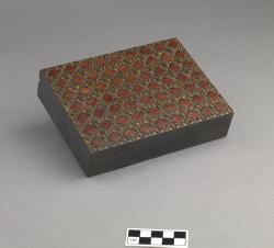 Decorated wooden box; 6.5